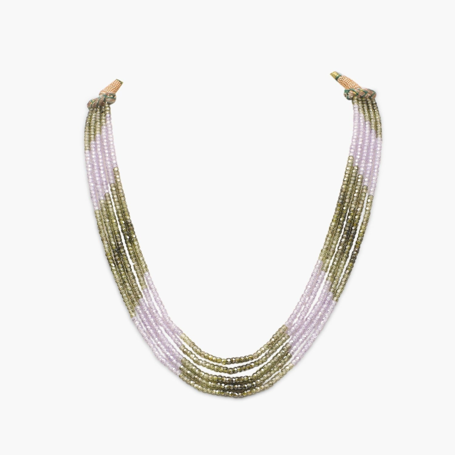 Olive with Lavender Cubic Zirconia Faceted Beads Necklace