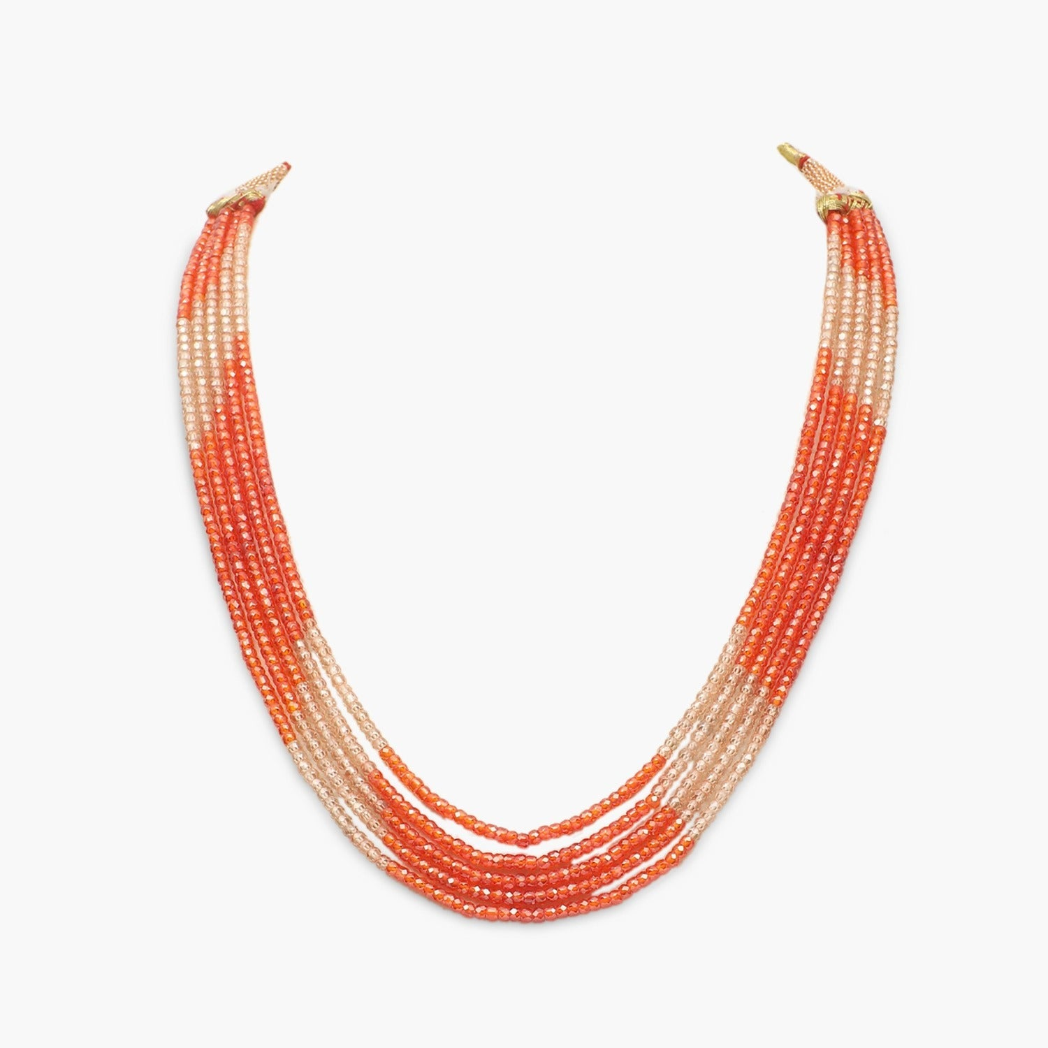 Orange with Champagne Cubic Zirconia Faceted Beads Necklace