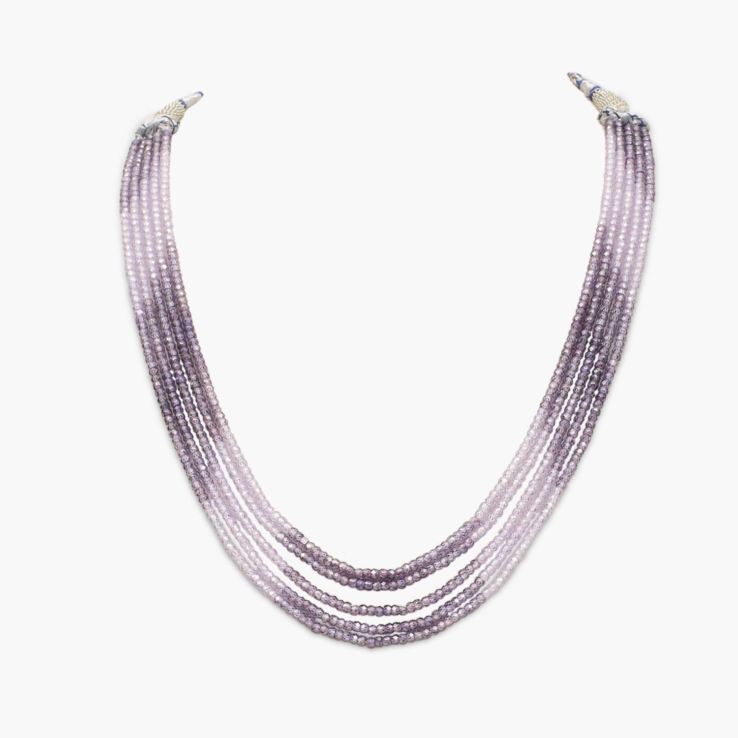 Lavender shaded Faceted Cubic Zirconia Beads Necklace