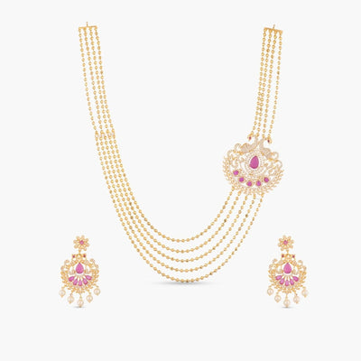 Madno Nakshatra CZ Long Necklace Set