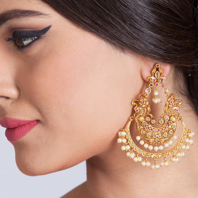 Ruchir Antique Chandbali Earrings by Tarinika