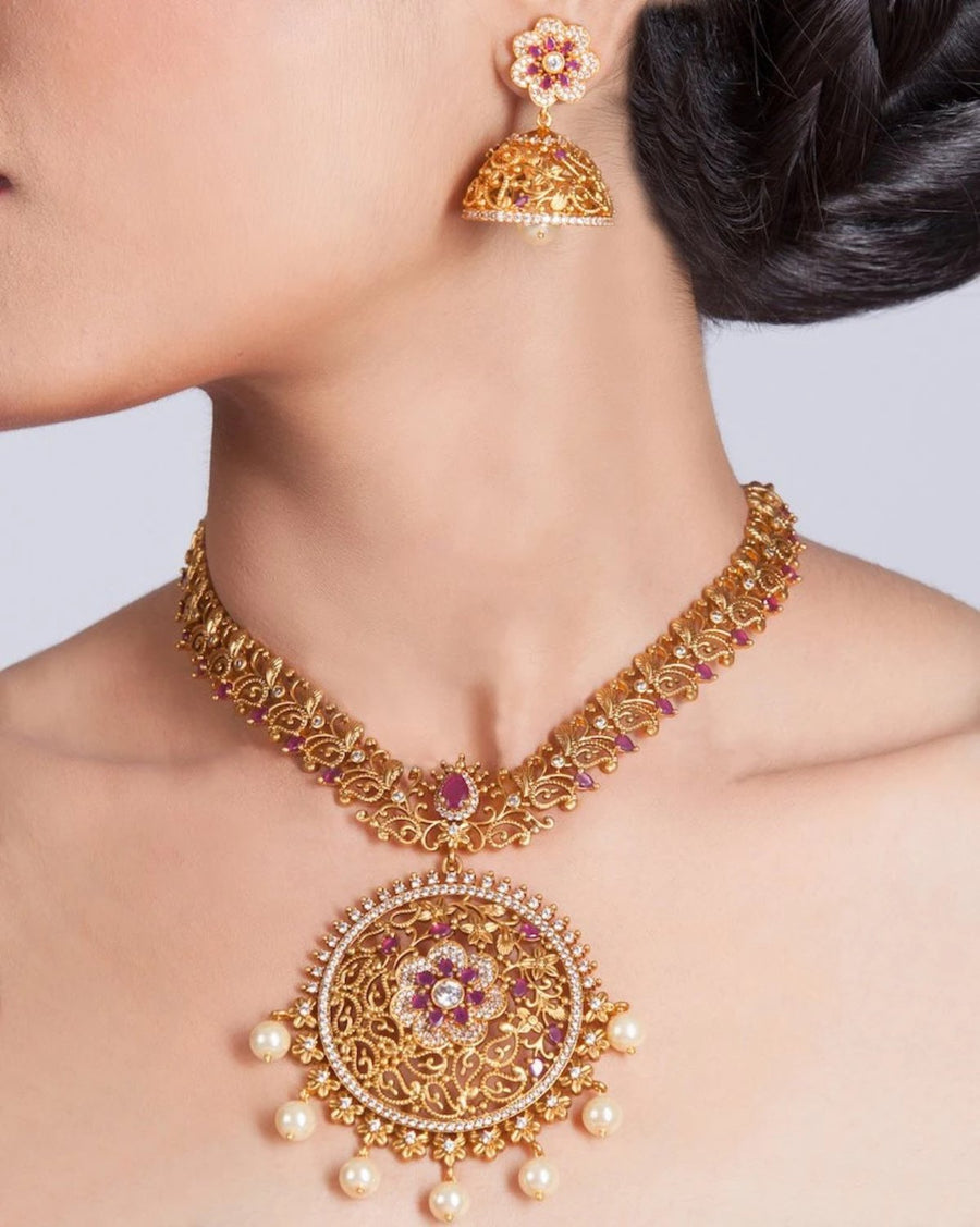 Chandan Antique Necklace Set by Tarinika