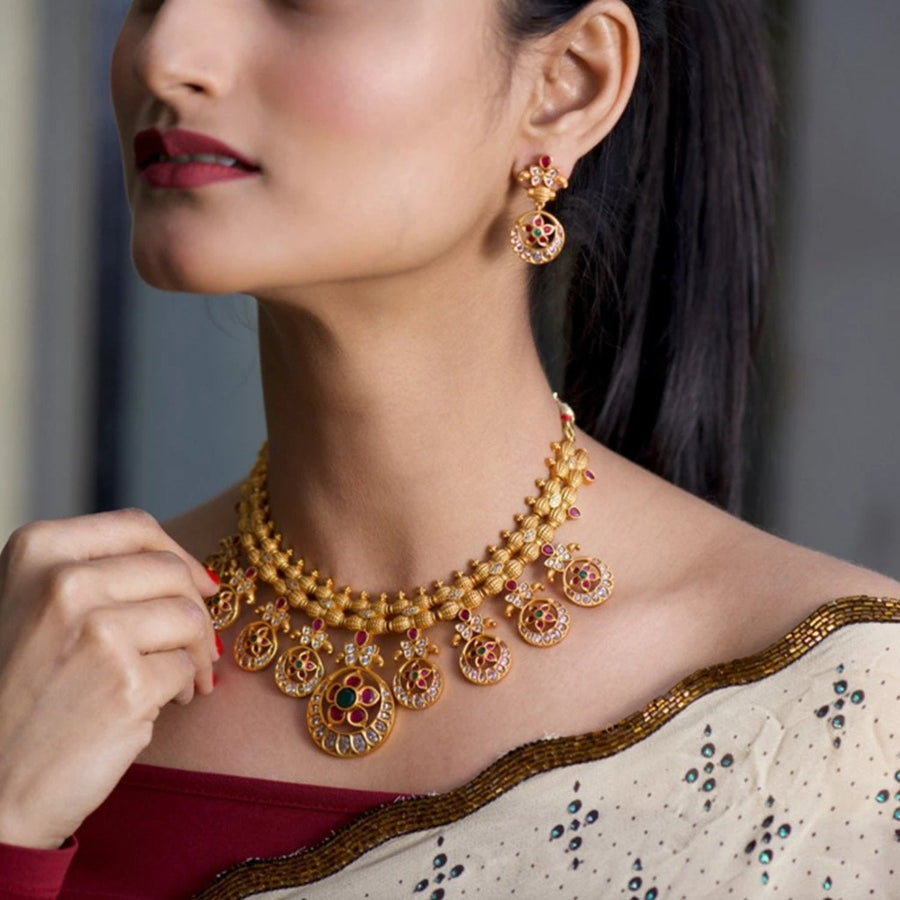 Siya Nakshatra CZ Necklace Set by Tarinika