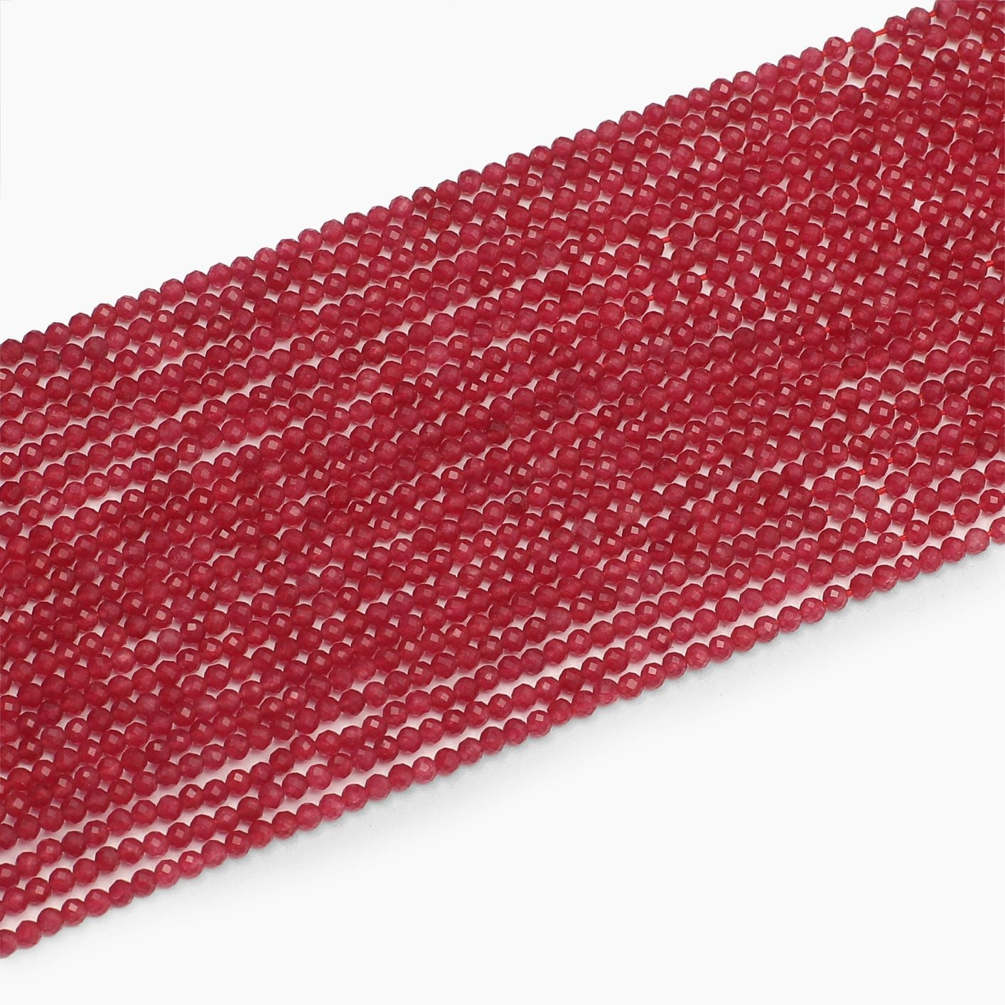 Ruby Jade Quartz Diamond Cutting Beads- Sold Per Strand