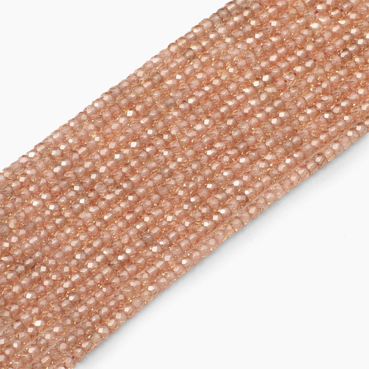 Light Champagne Faceted Cubic Zirconia Beads- Sold Per Strand