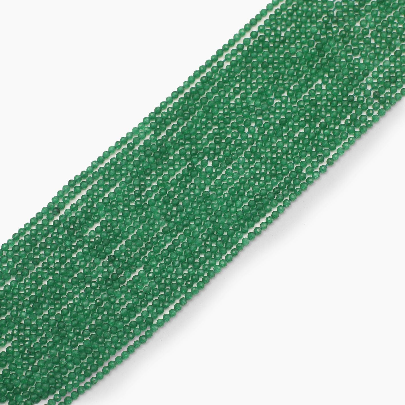 Dark green Jade Quartz Diamond Cutting Beads- Sold Per Strand