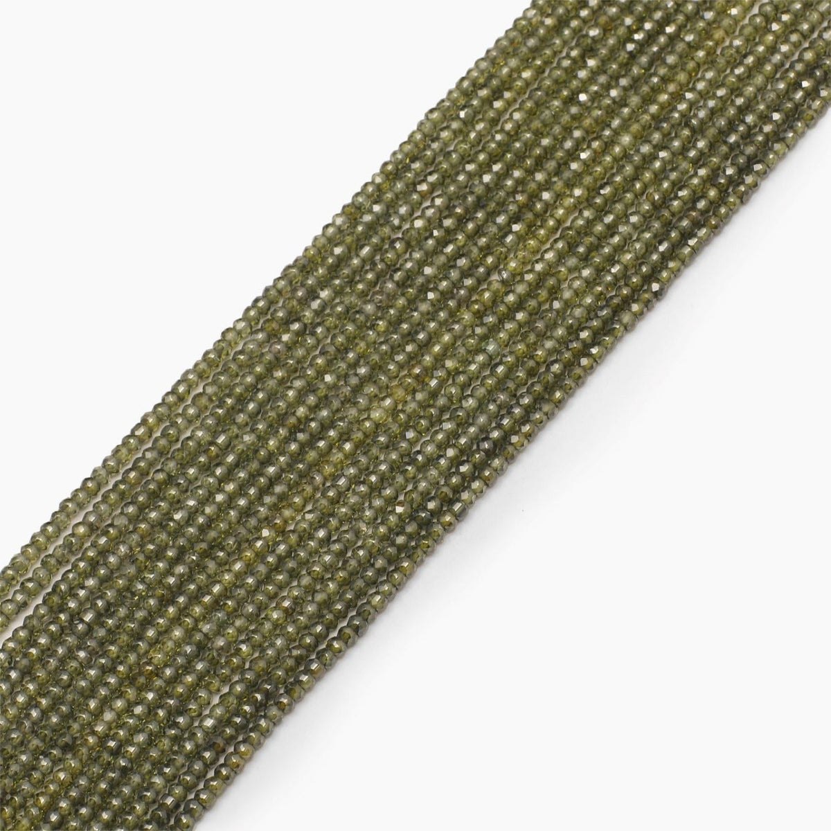 Light Olive Faceted Cubic Zirconia Beads- Sold Per Strand