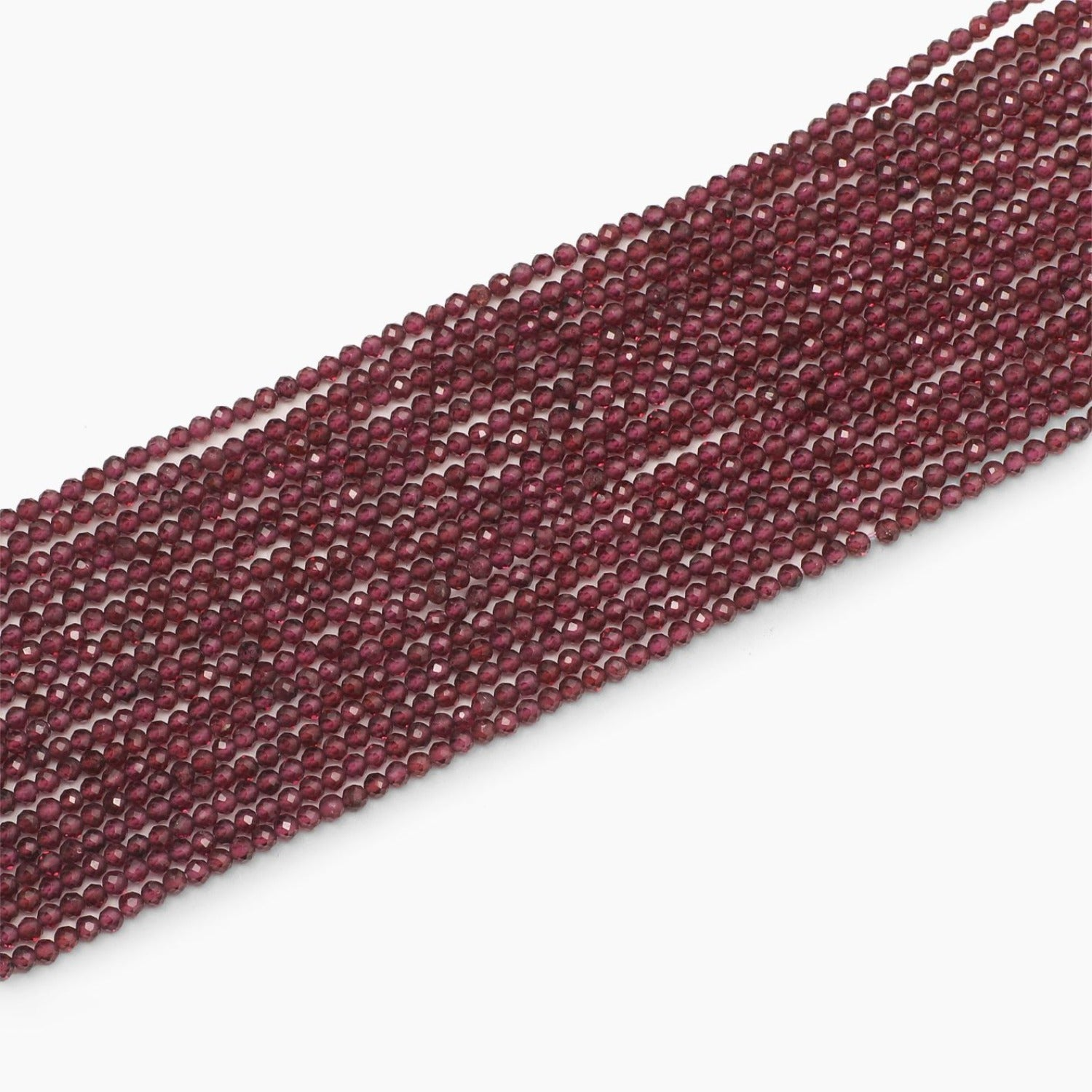 Rhodolite Garnet Diamond Cut  Faceted Beads- Sold Per Strand