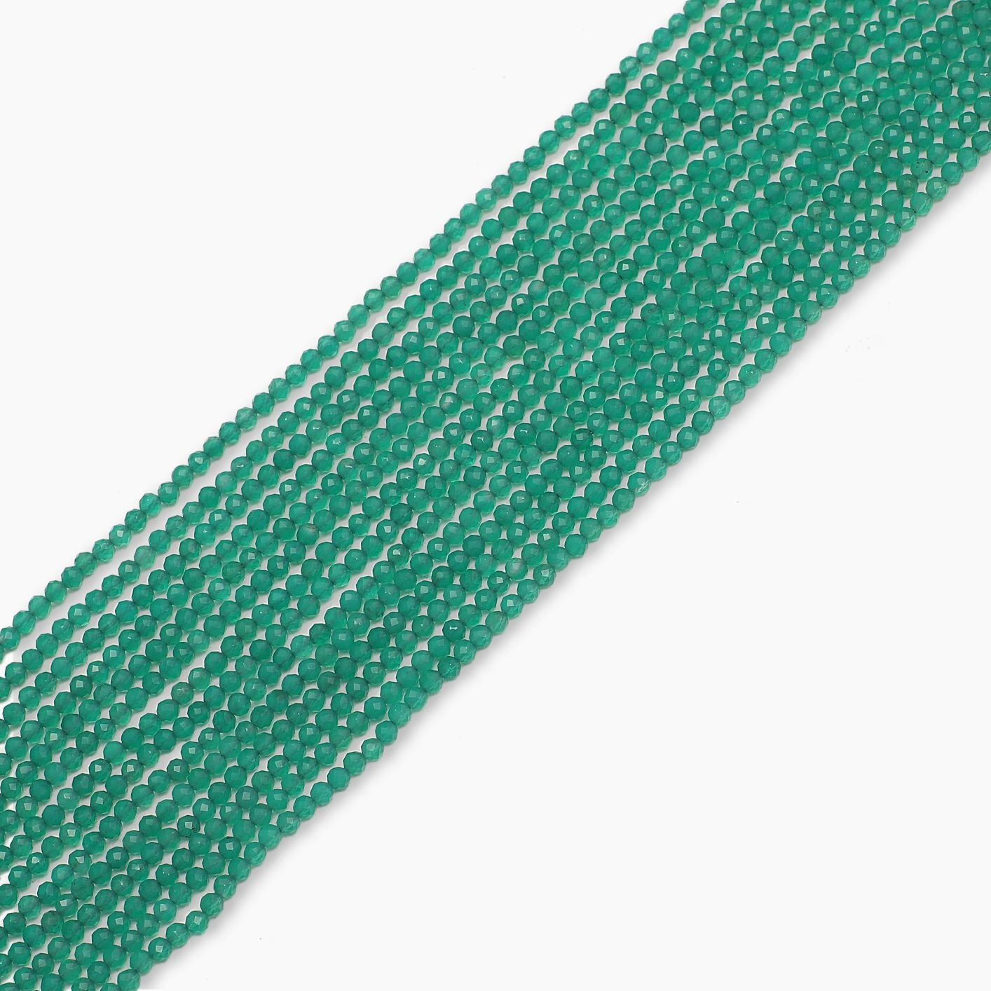 Green Onyx Diamond Cutting Beads-Sold Per Strand