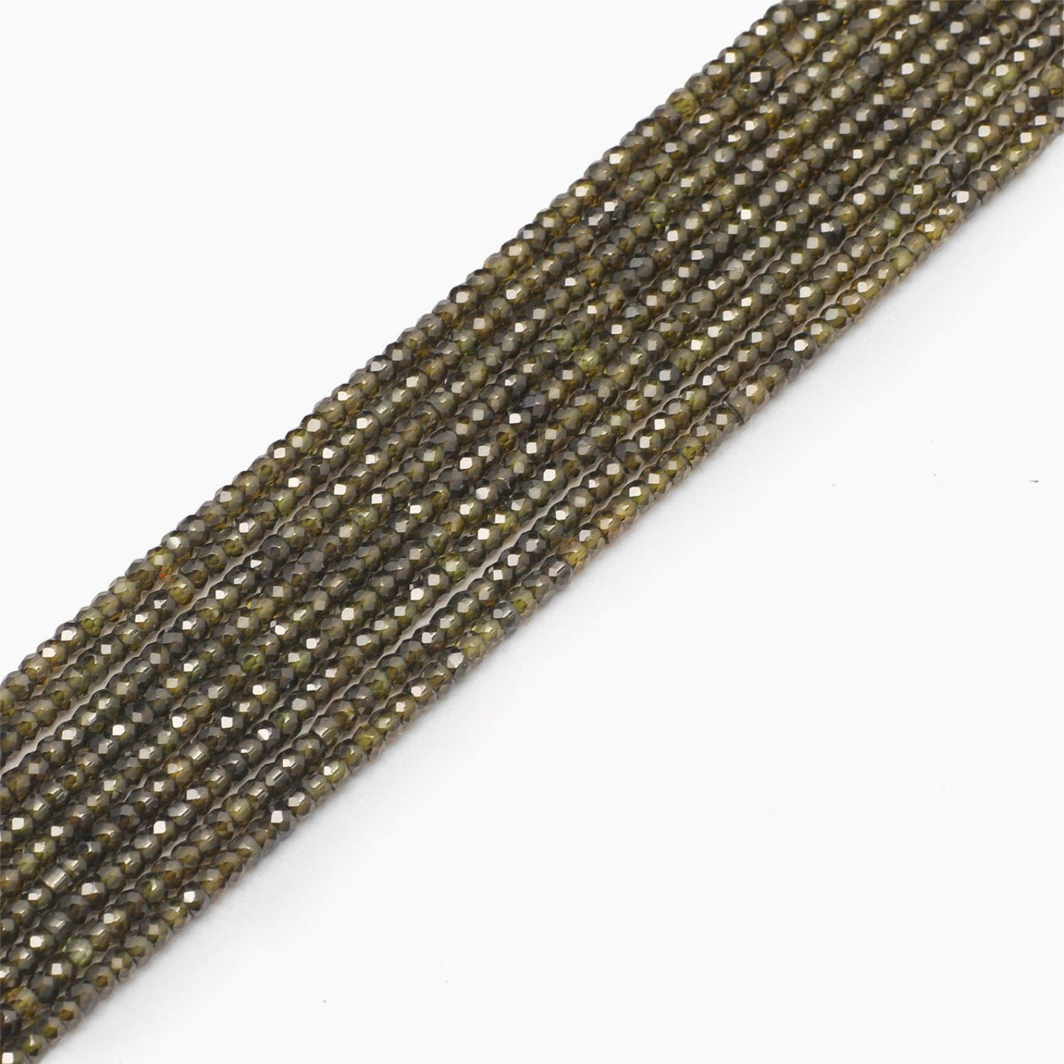 Dark Olive Faceted Cubic Zirconia Beads- Sold Per Strand