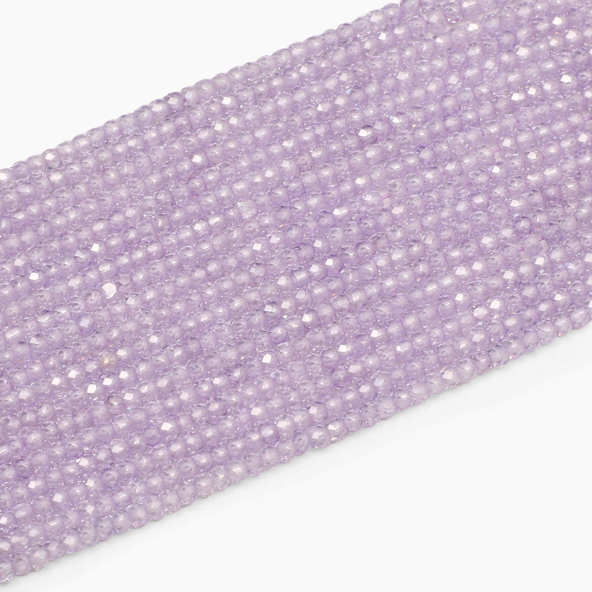 Light Lavender Faceted Cubic Zirconia Beads- Sold Per Strand