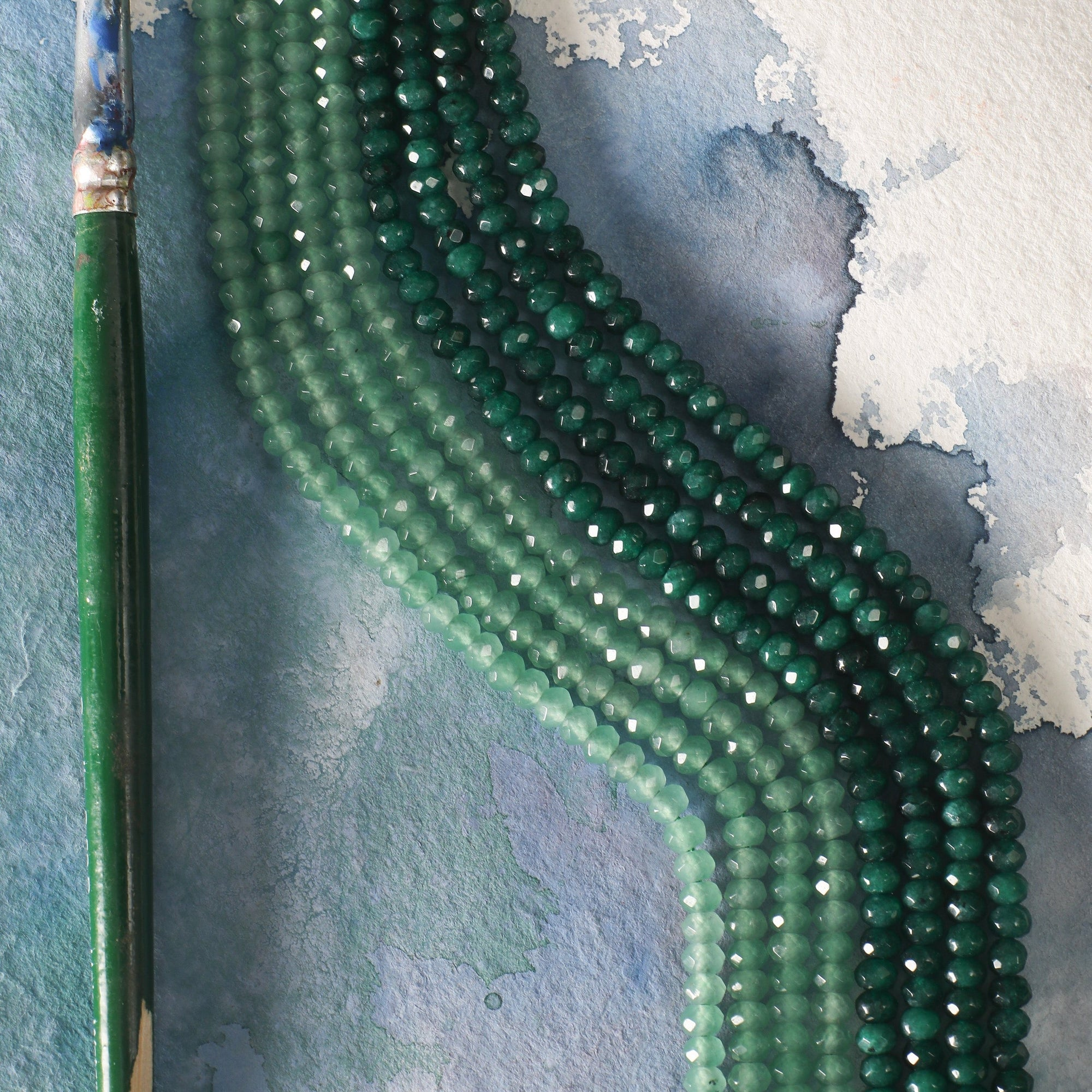 Dark Green opaque Jade Quartz Dyde Button Beads 2/4mm