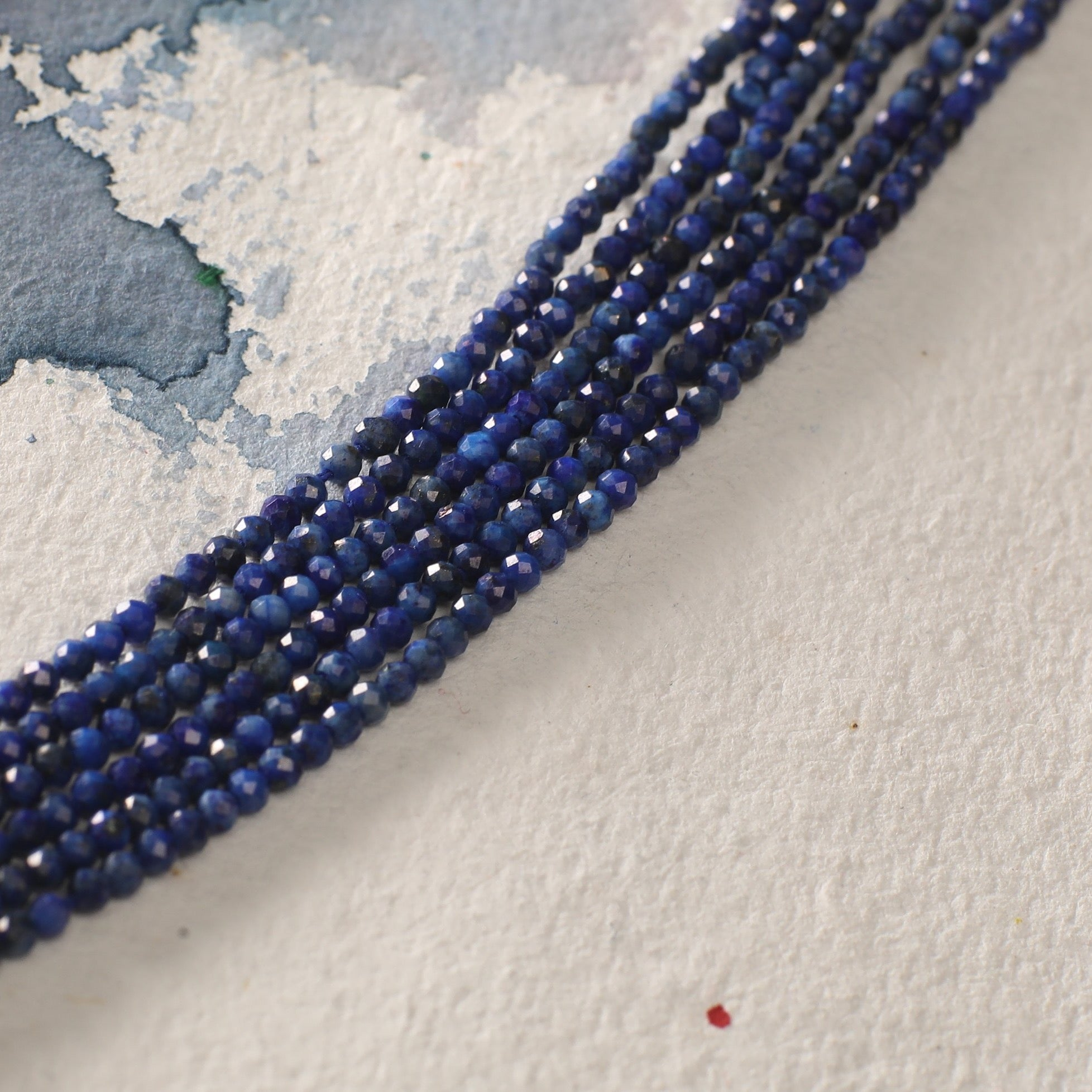 Lapis Diamond Cutting Beads- Sold Per Strand