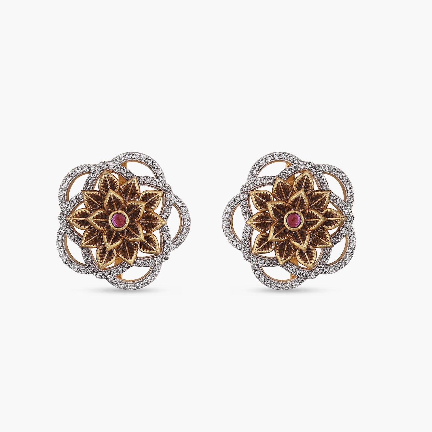 Flower CZ Antique Earrings