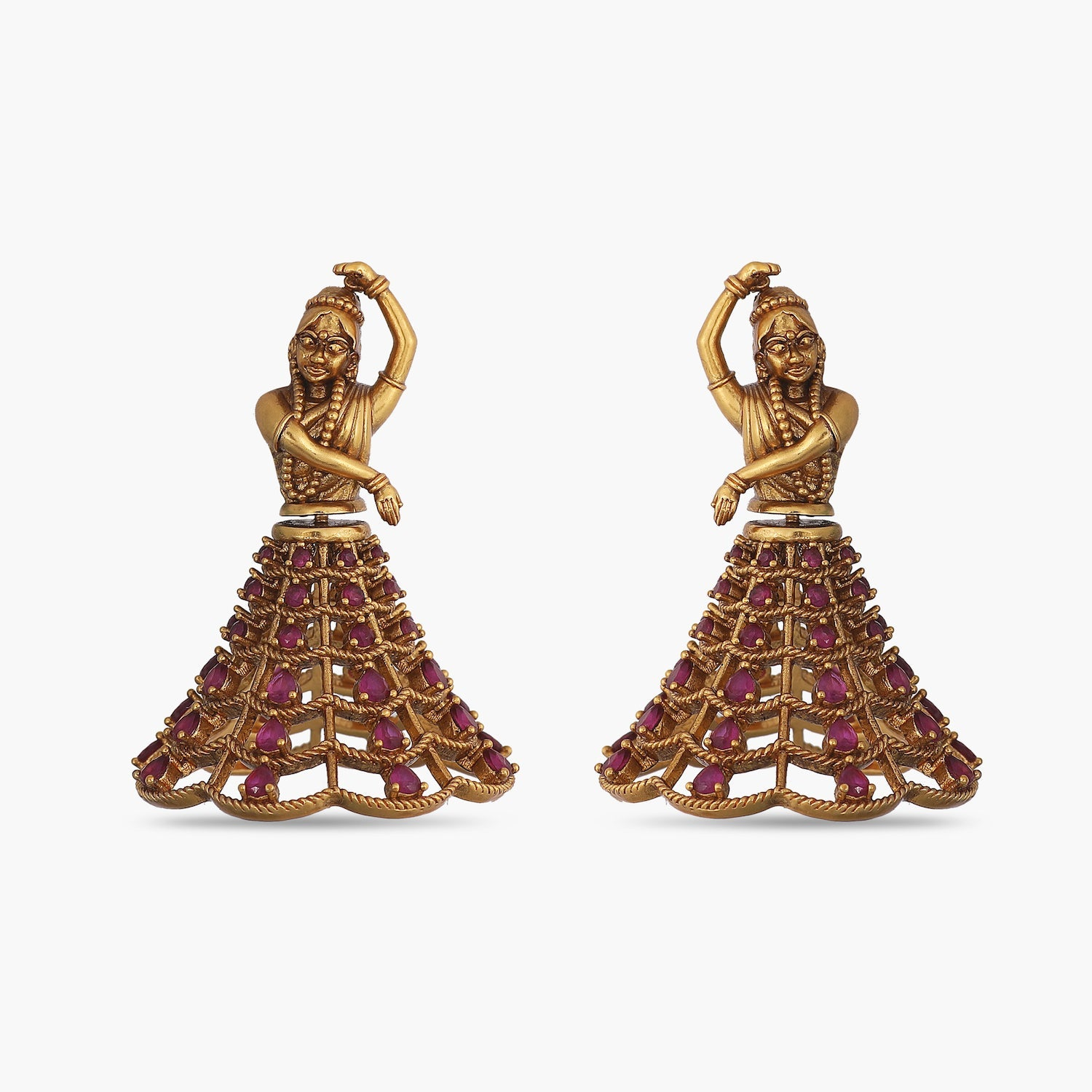 Dancing Lady Antique Earrings