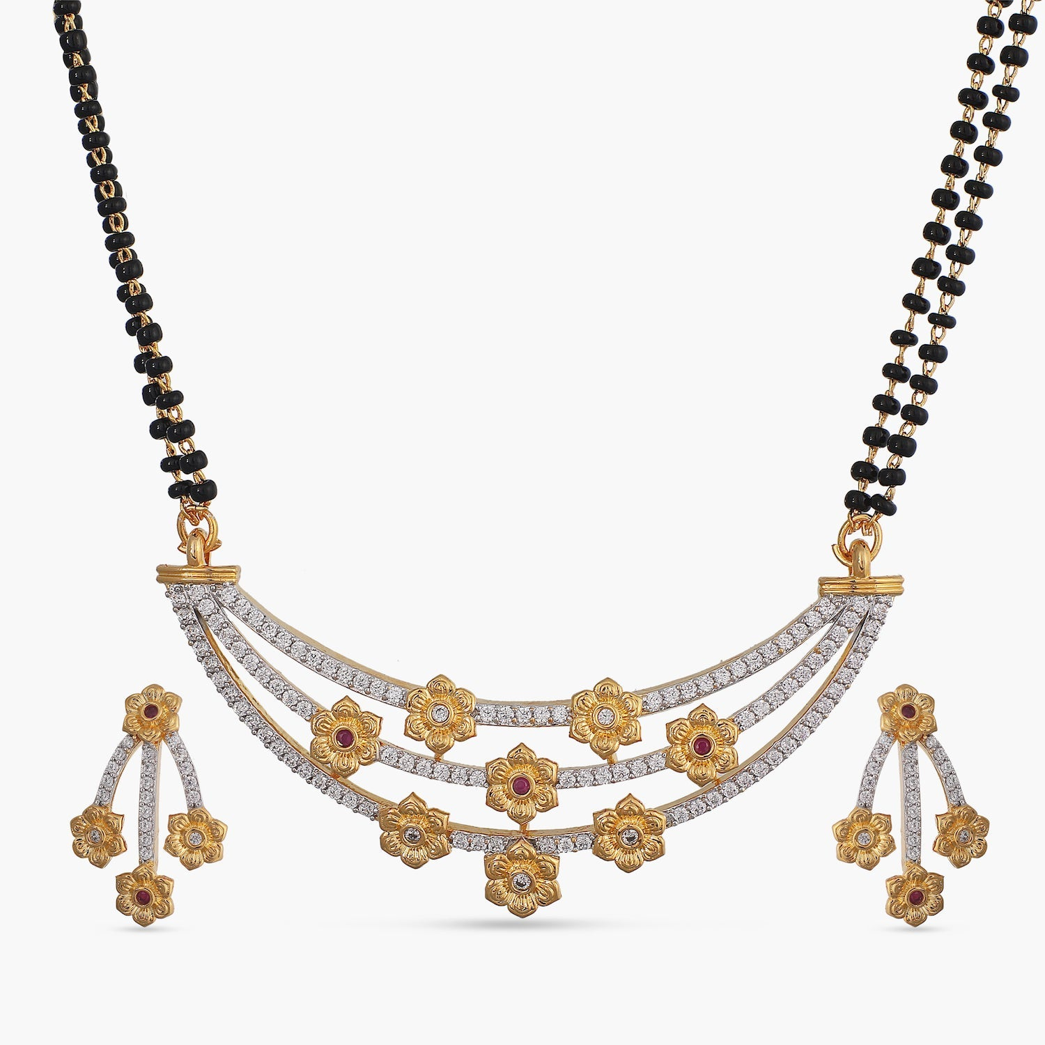 Chaitra Black Beads Necklace Set