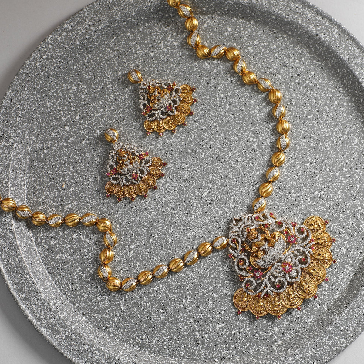 Hema Antique CZ Long Necklace Set