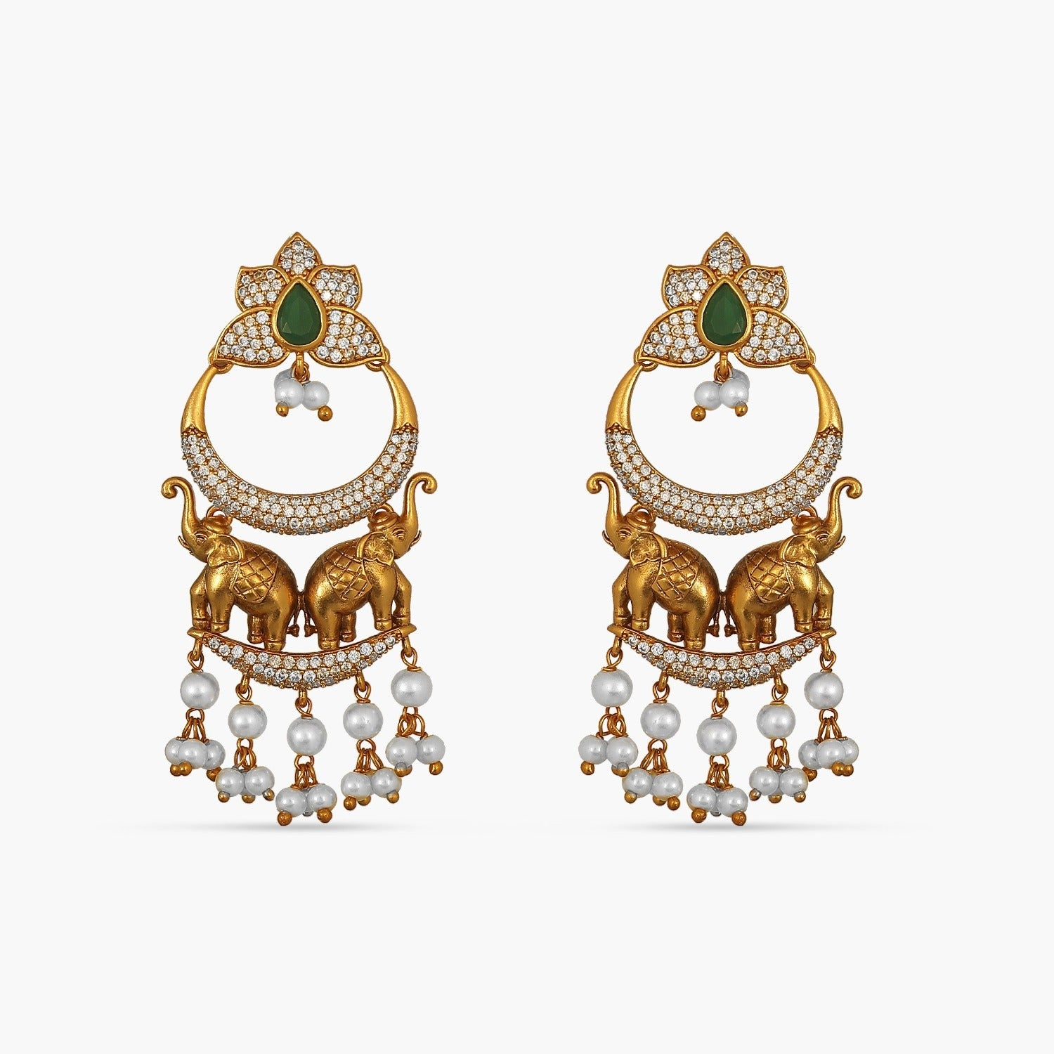 Elephants and Pearls Antique Earrings
