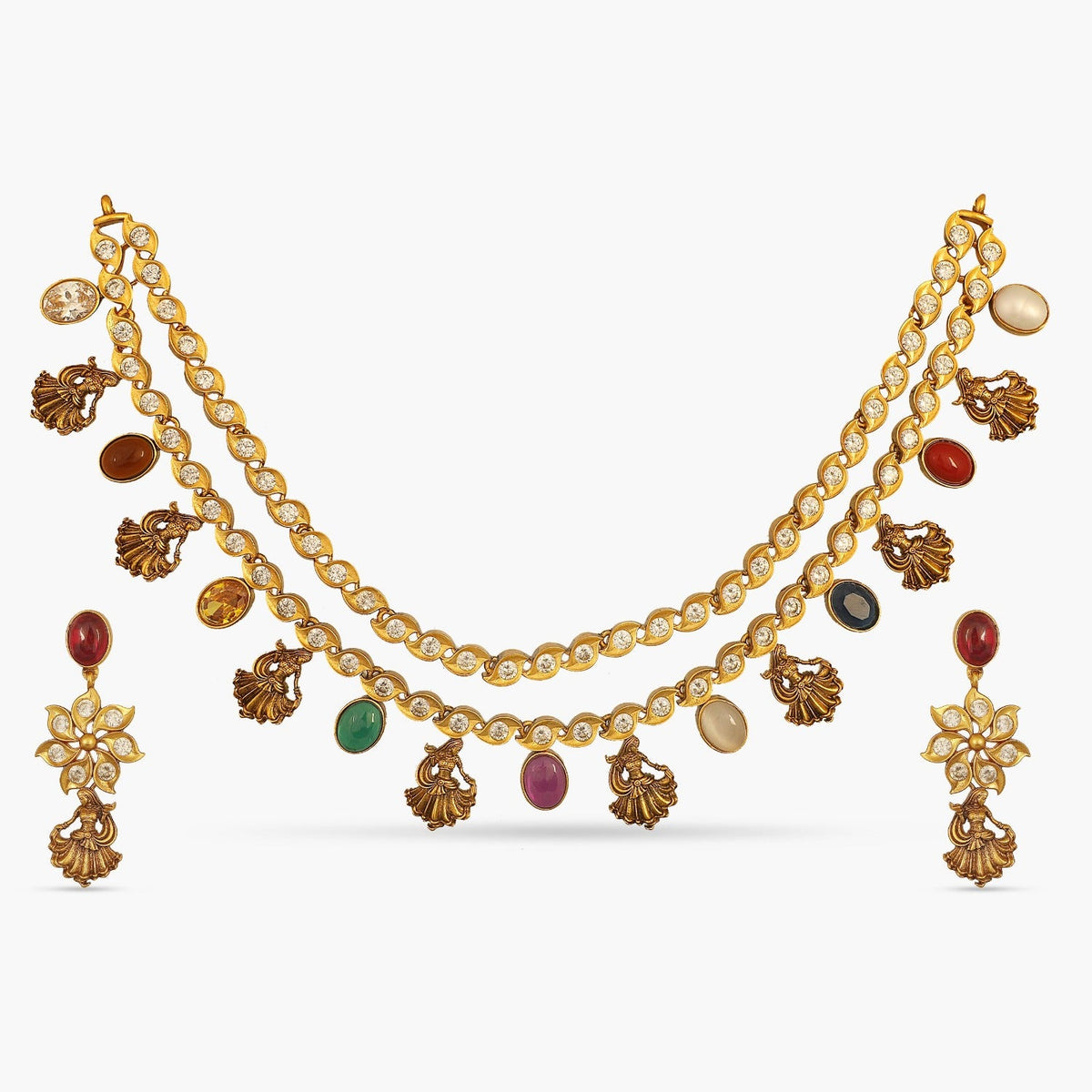 Navaratna Dancing Lady Layered Antique Necklace Set