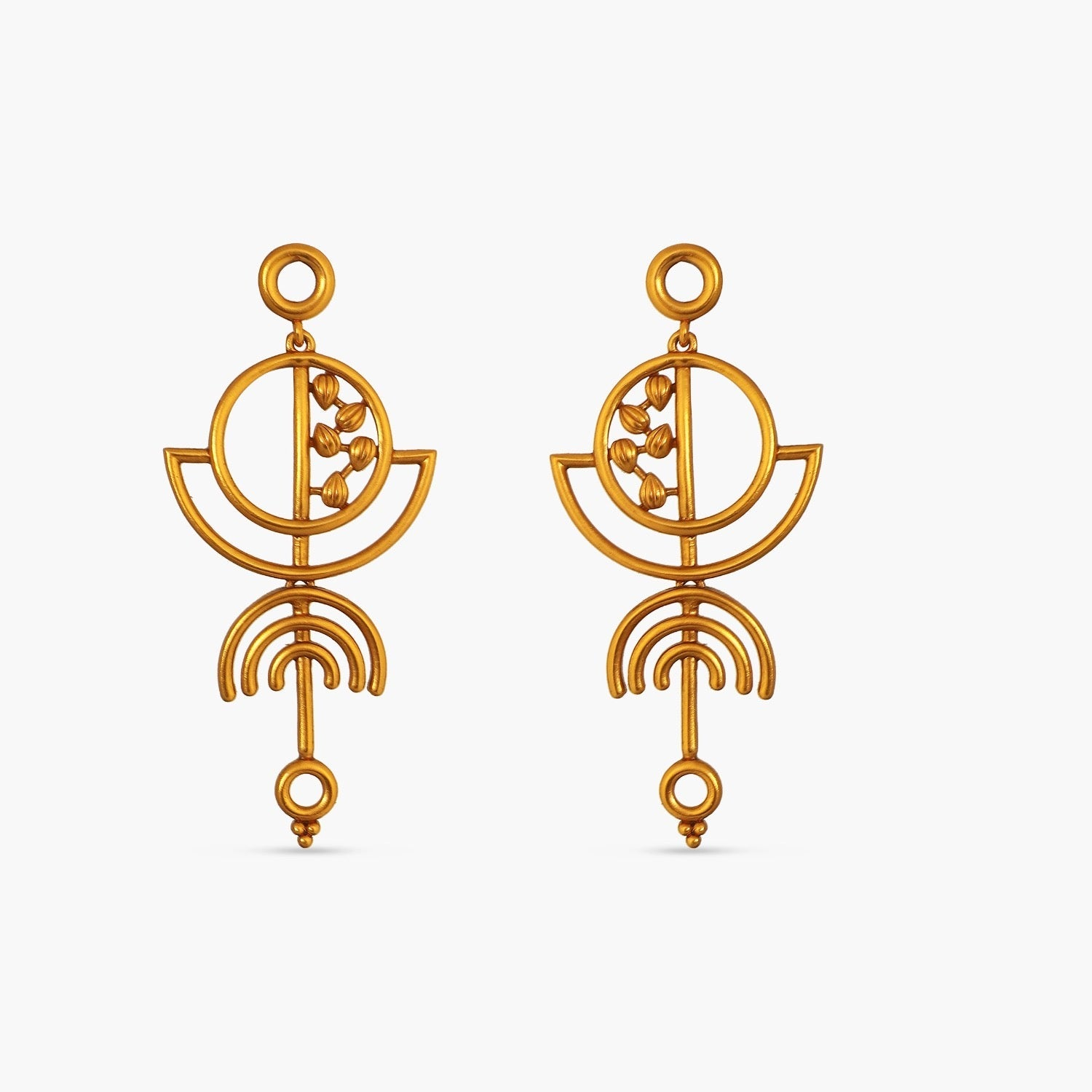 Round Geometric Statement Earrings
