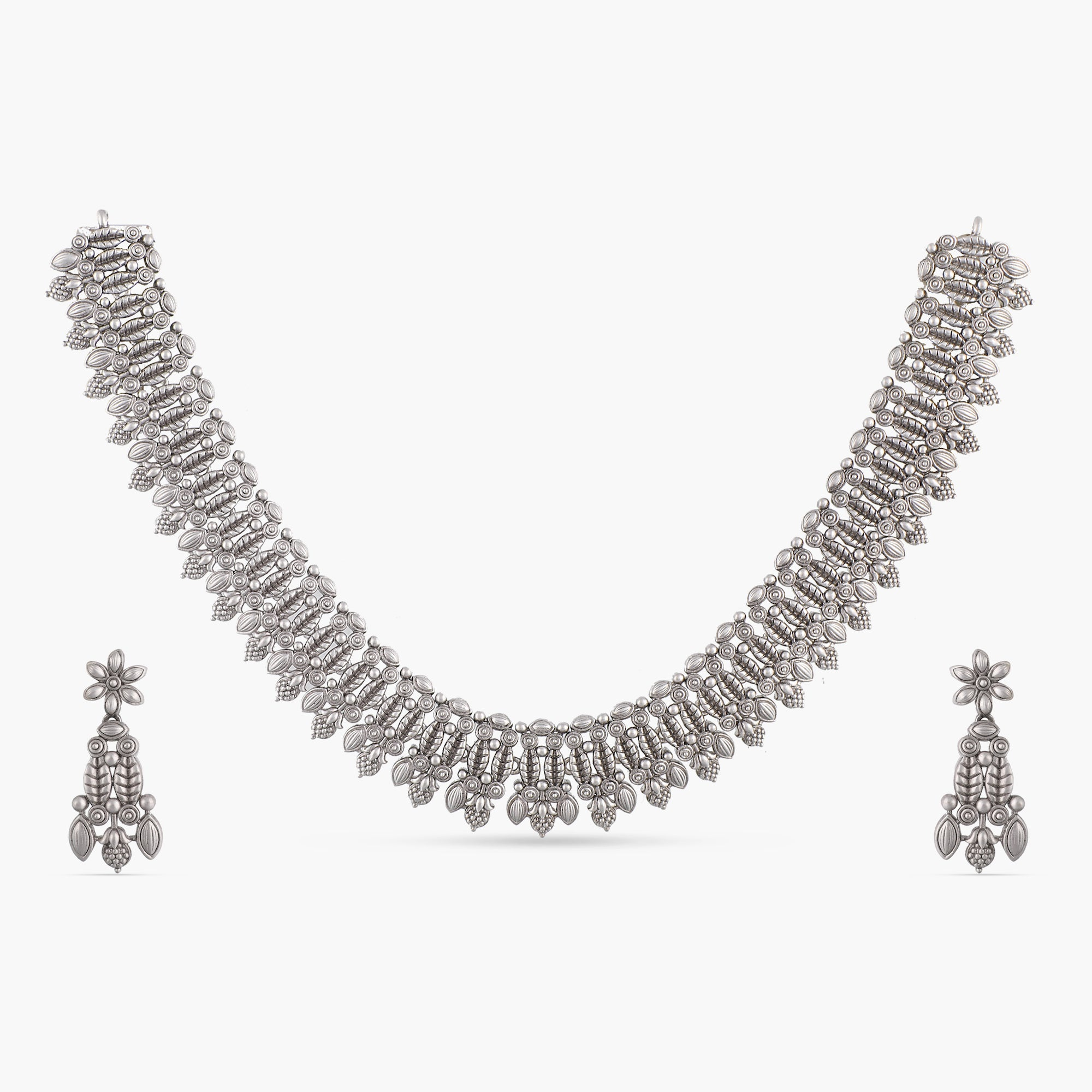 Charu Antique Silver Necklace Set