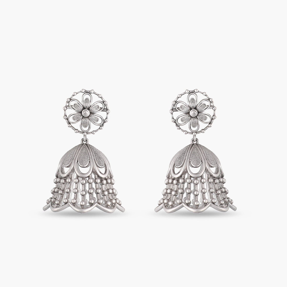 Ketki Antique Silver Jhumka Earrings