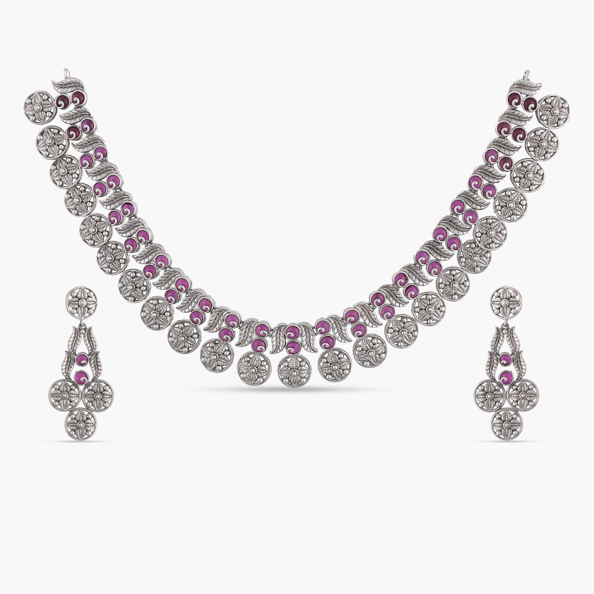 Purvi Antique Silver Necklace Set