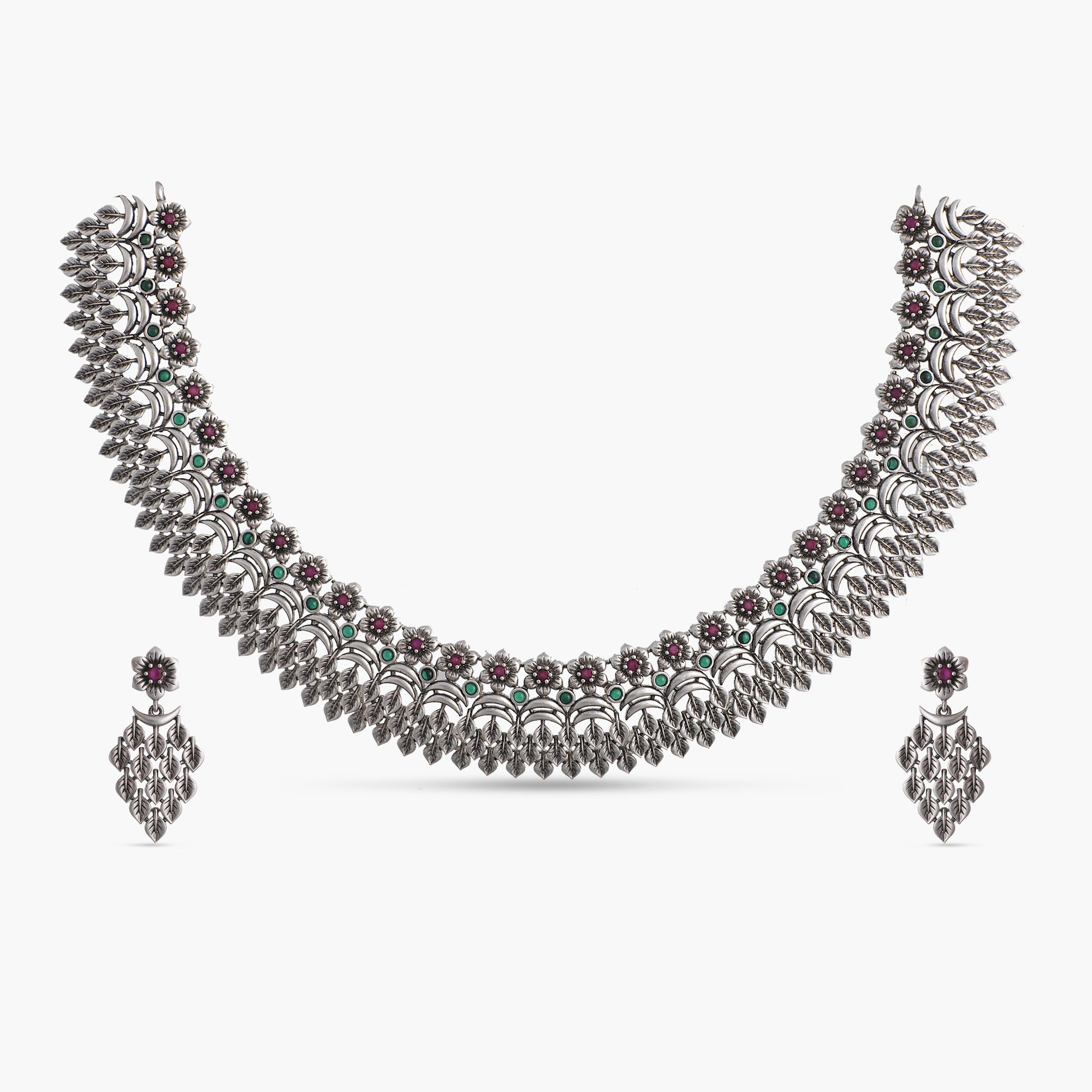 Geeti Antique Silver Necklace Set