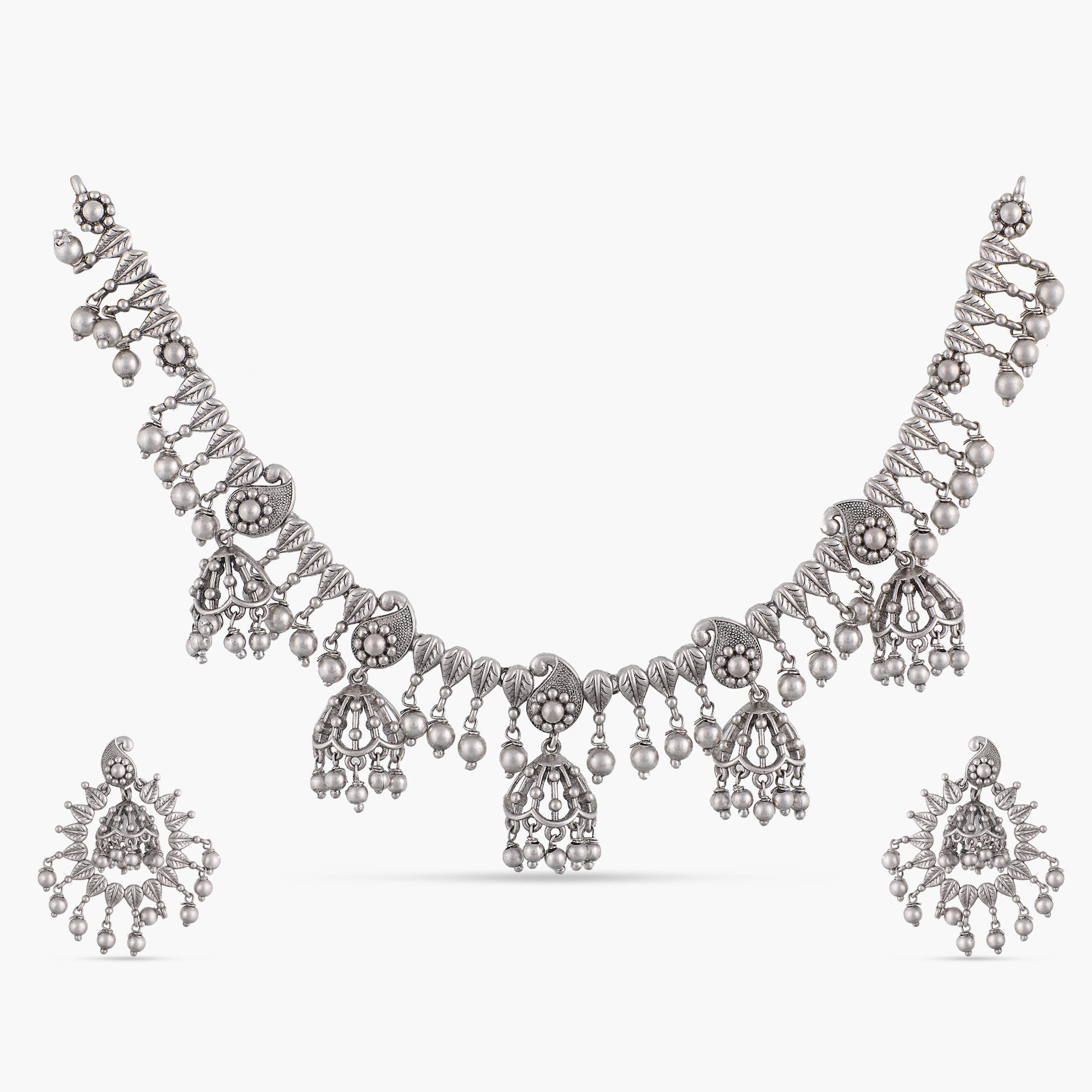 Ilina Antique Silver Necklace Set