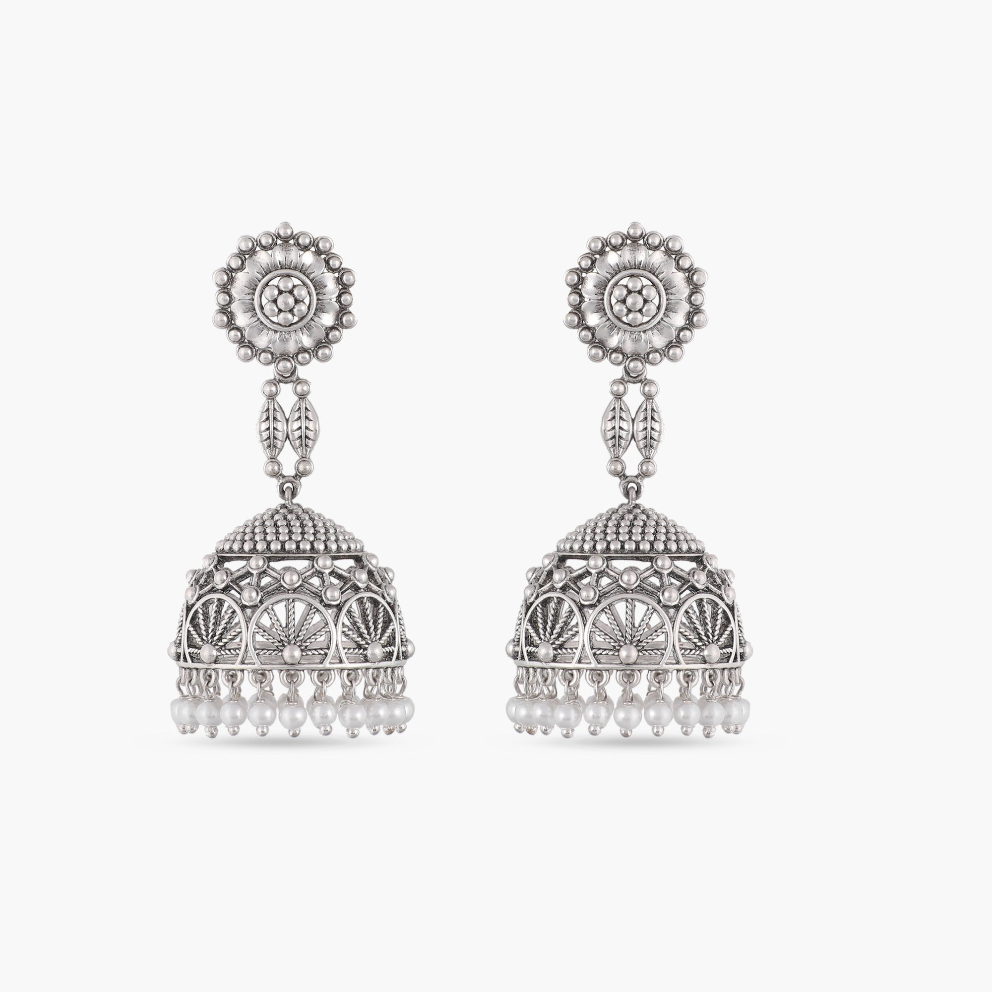 Pusp Antique Silver Jhumka Earrings