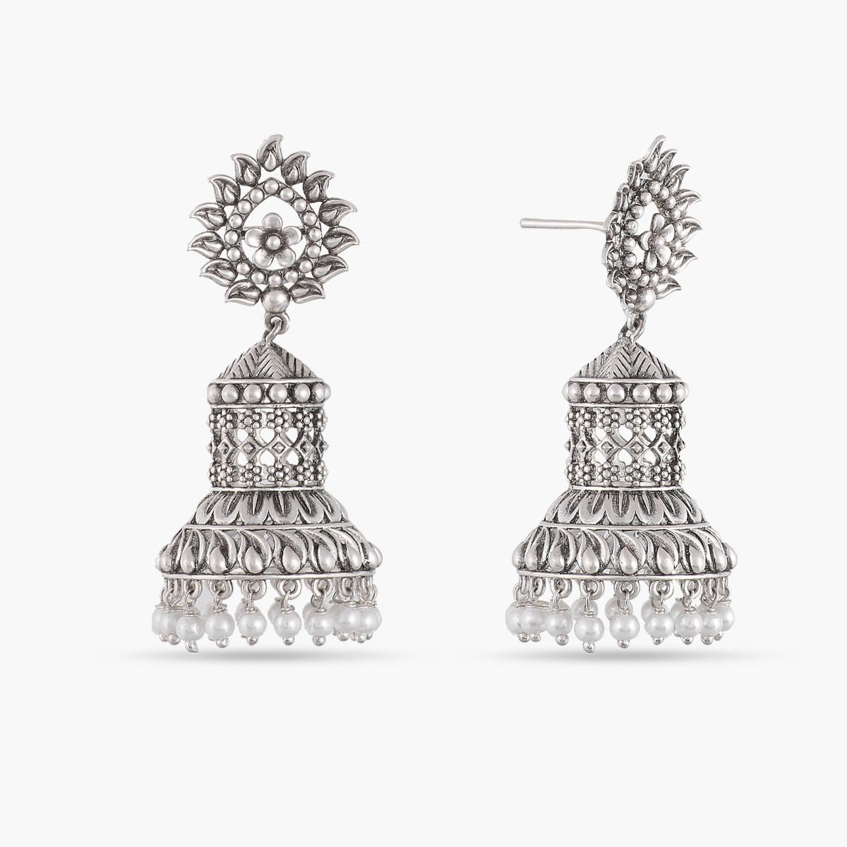 Uditi Antique Silver Jhumka Earrings