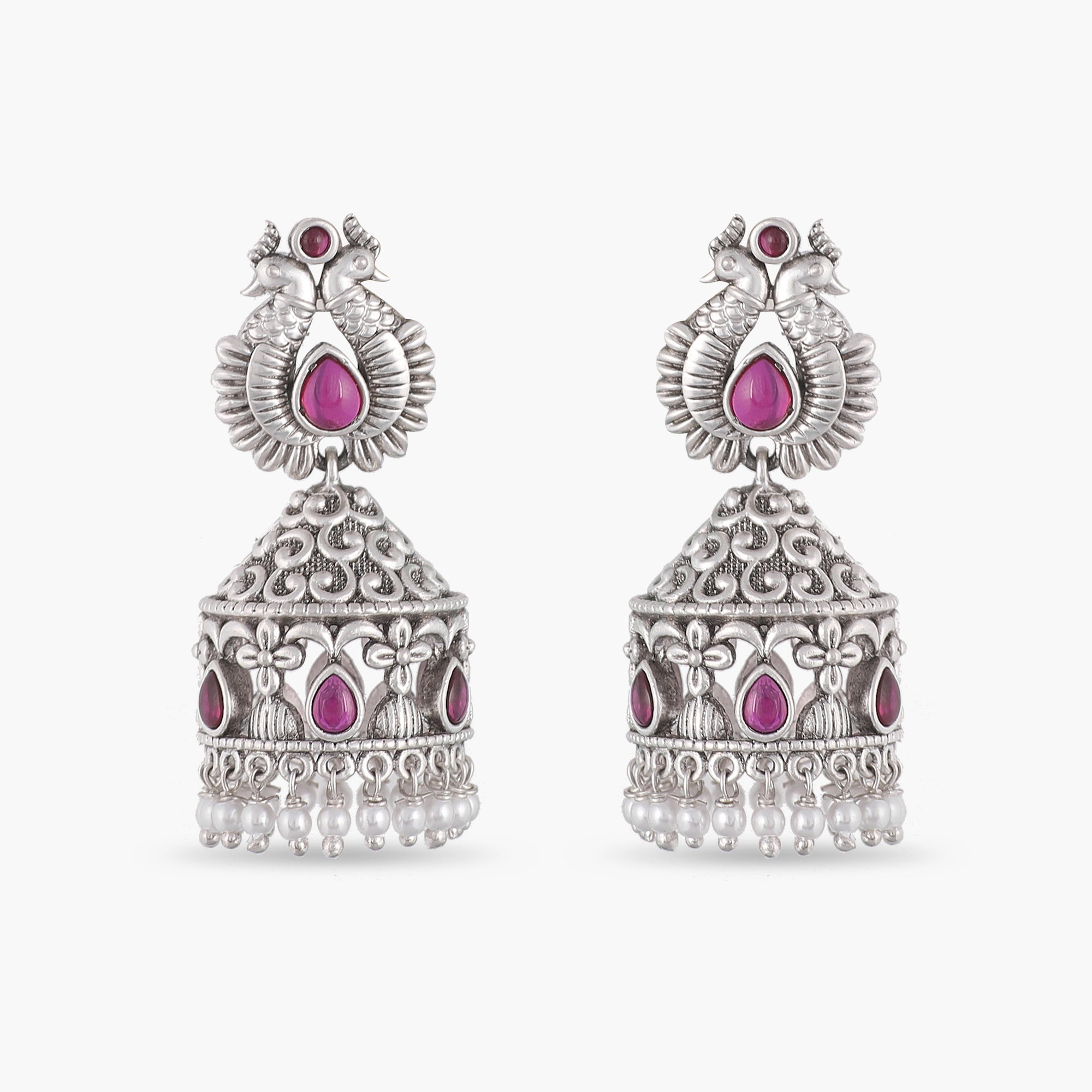 Keka Antique Silver Jhumka Earrings