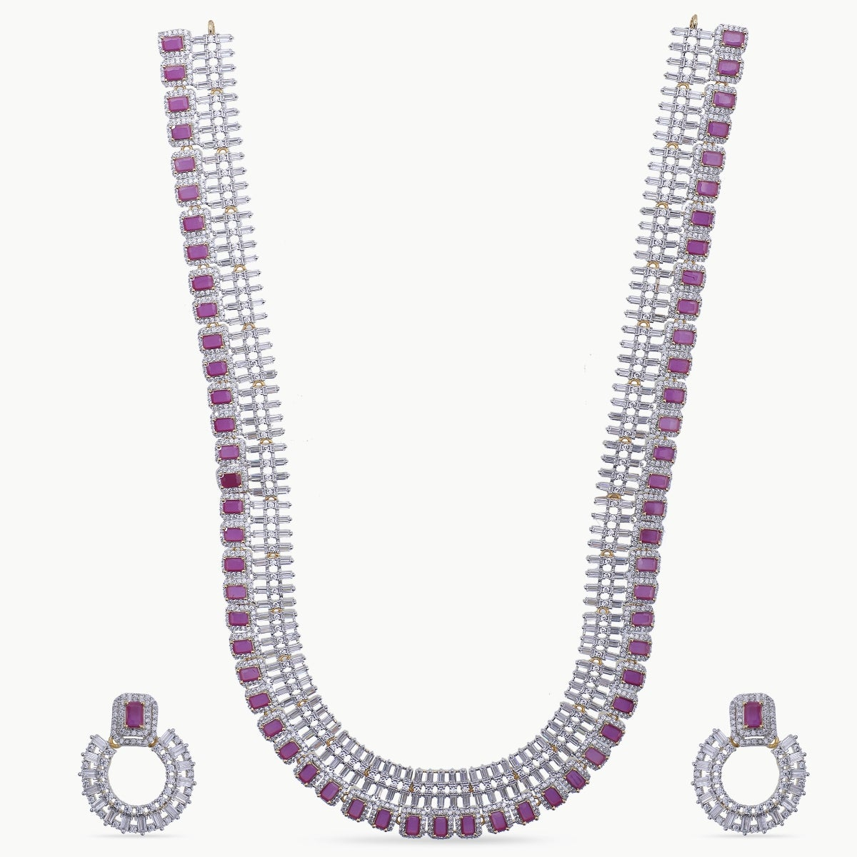 Arusha Nakshatra CZ Long Necklace Set