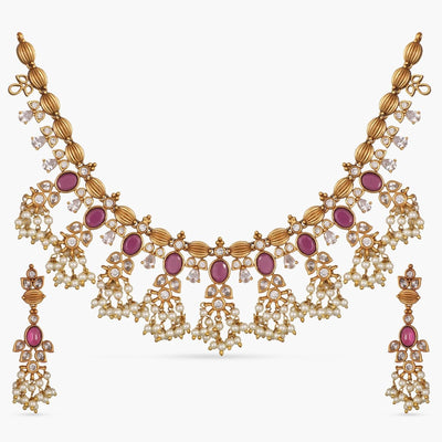 Phool Antique Necklace Set by Tarinika