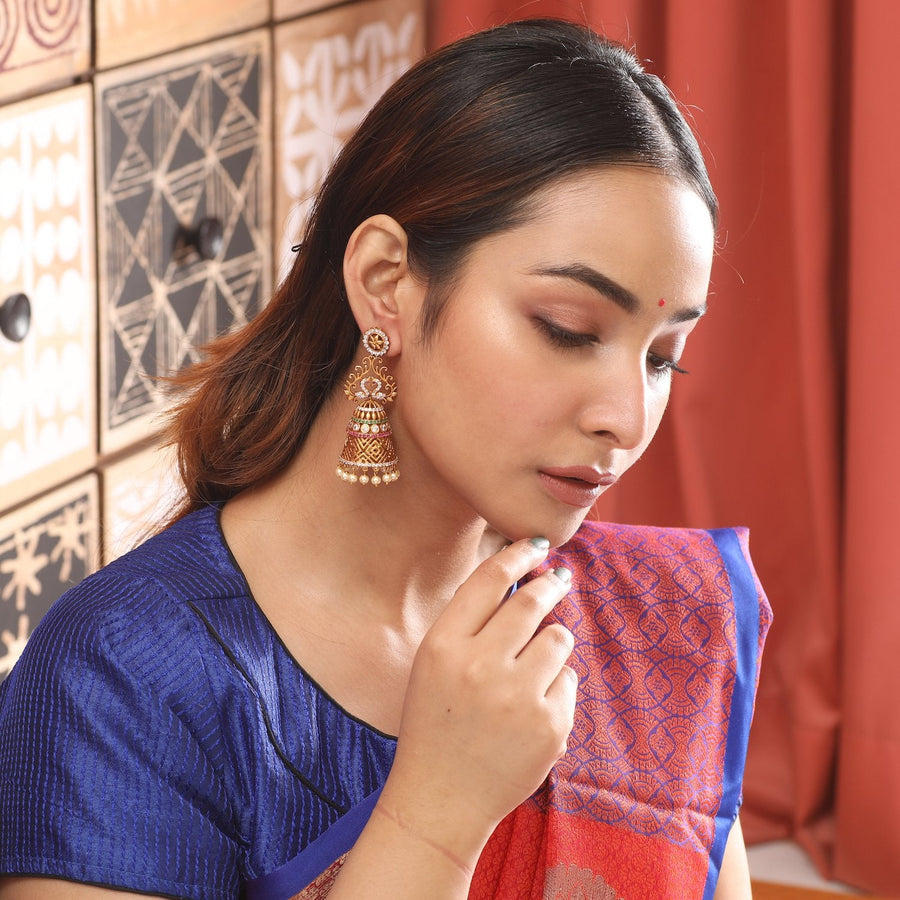Venya Antique Jhumka Earrings