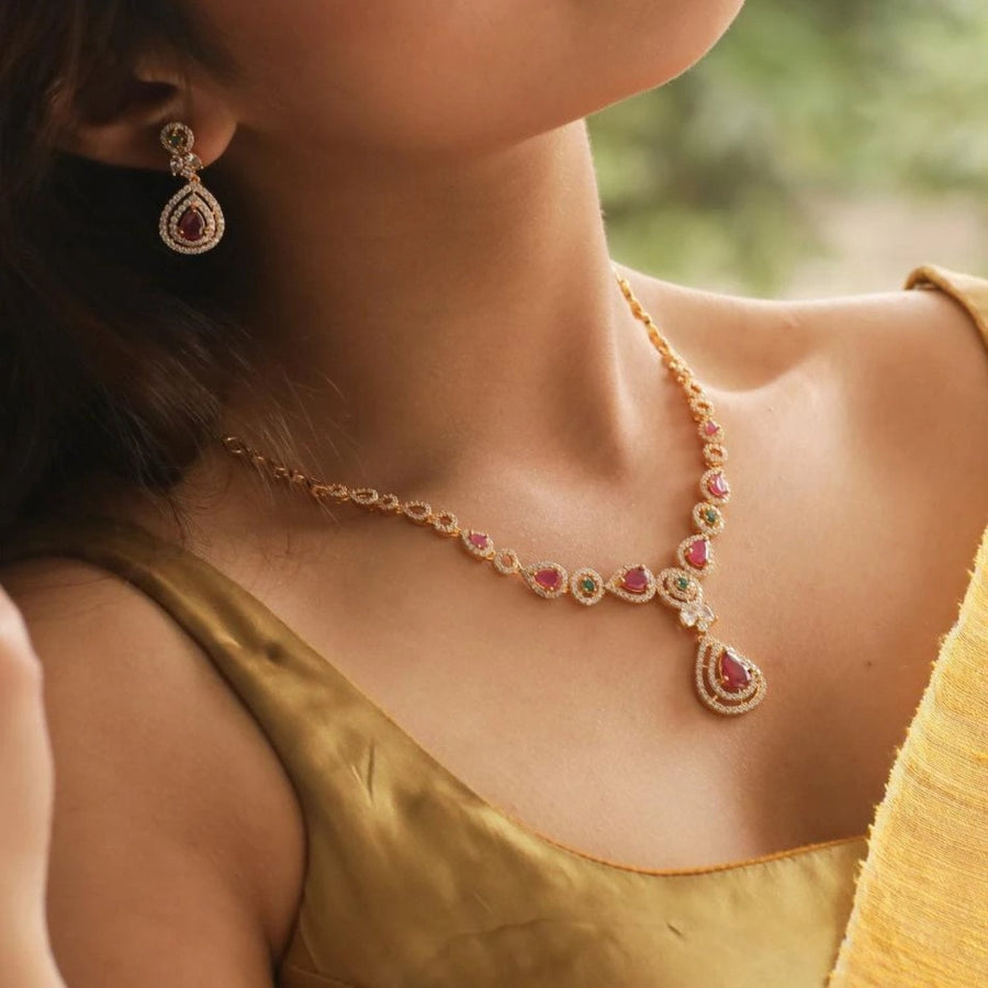 Inaya Nakshatra CZ Necklace Set by Tarinika