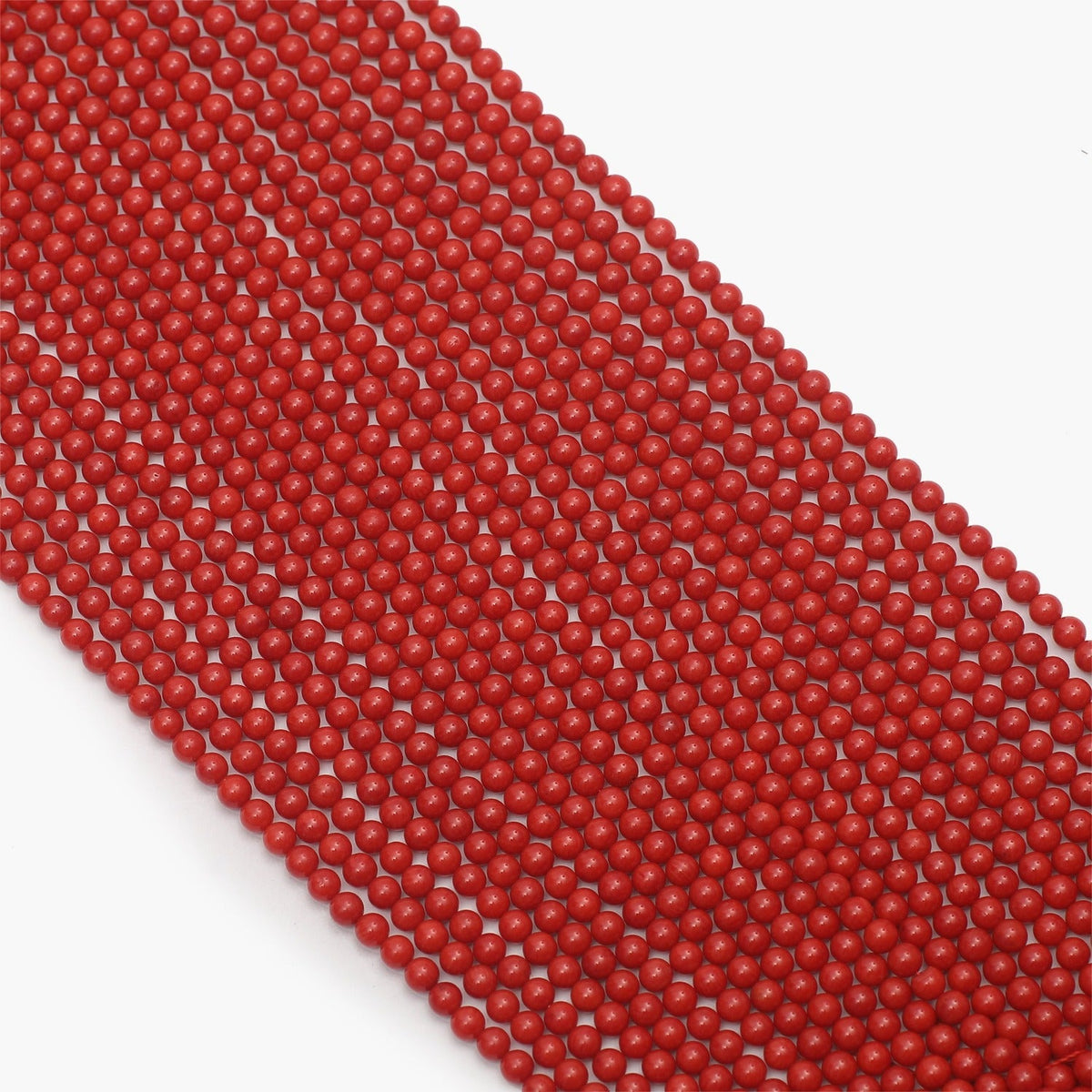 Taiwan Red Coral Semi Precious Gemstone Beads 5mm- Sold Per Strand
