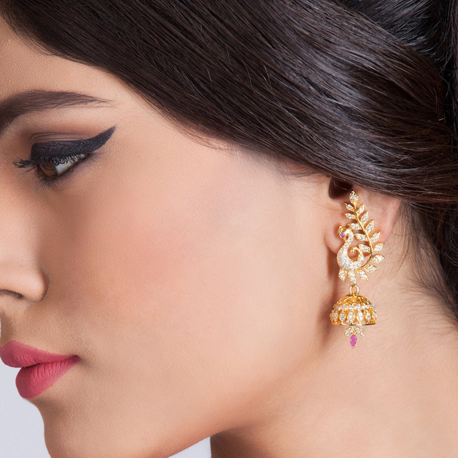 Basant Nakshatra CZ Jhumka Earrings by Tarinika