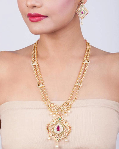 Swapn Nakshatra CZ Long Necklace Set