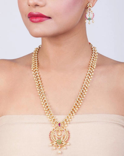 Anulekha Nakshatra CZ Long Necklace Set by Tarinika