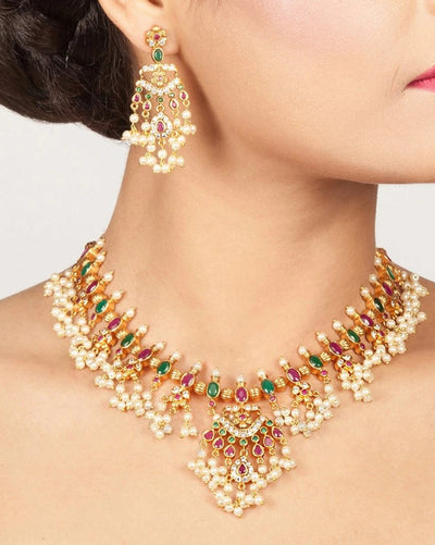Aloke Nakshatra CZ Necklace Set by Tarinika