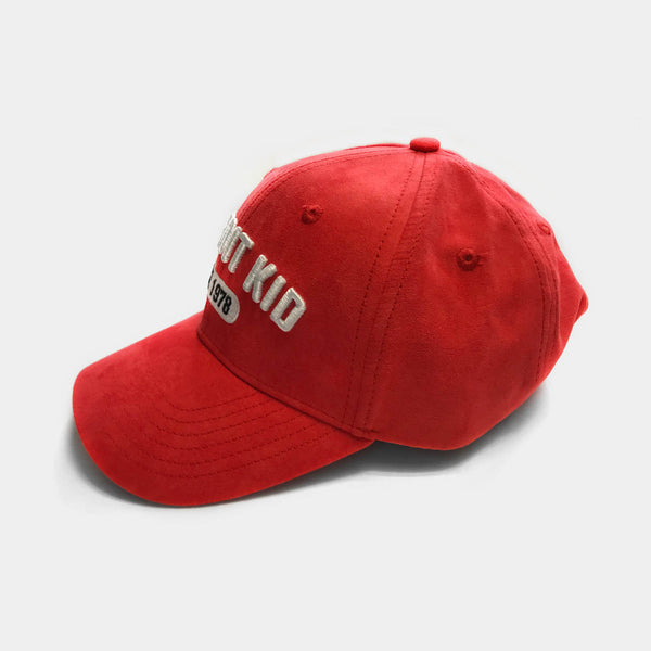 Detroit Kid Red Faux Suede Curved-Brim Hat with Raised Embroidery Logo