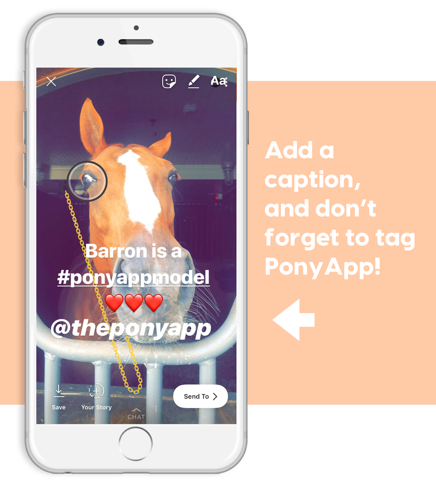 add a caption to your pony monocle for ponyapp instagram