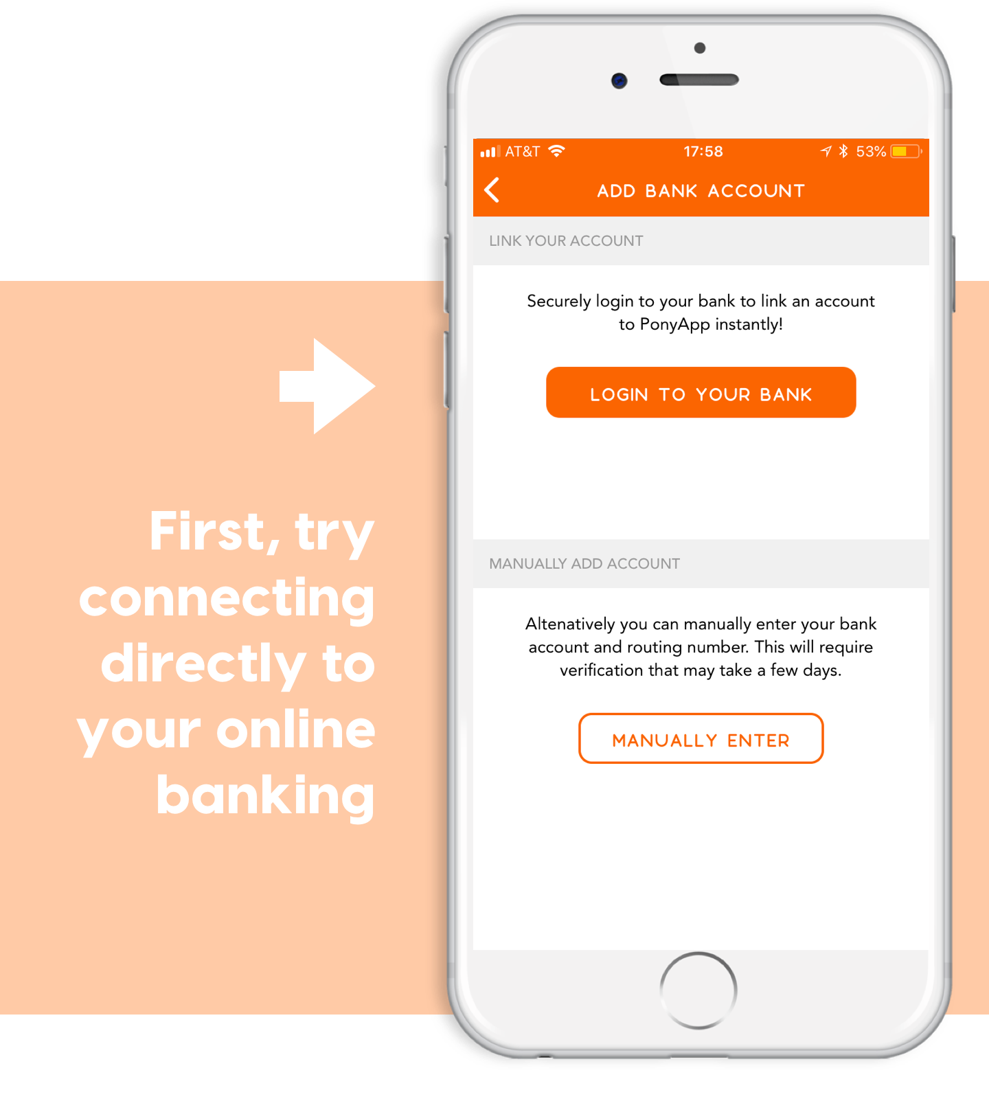 direct payments through ponyapp login to your bank