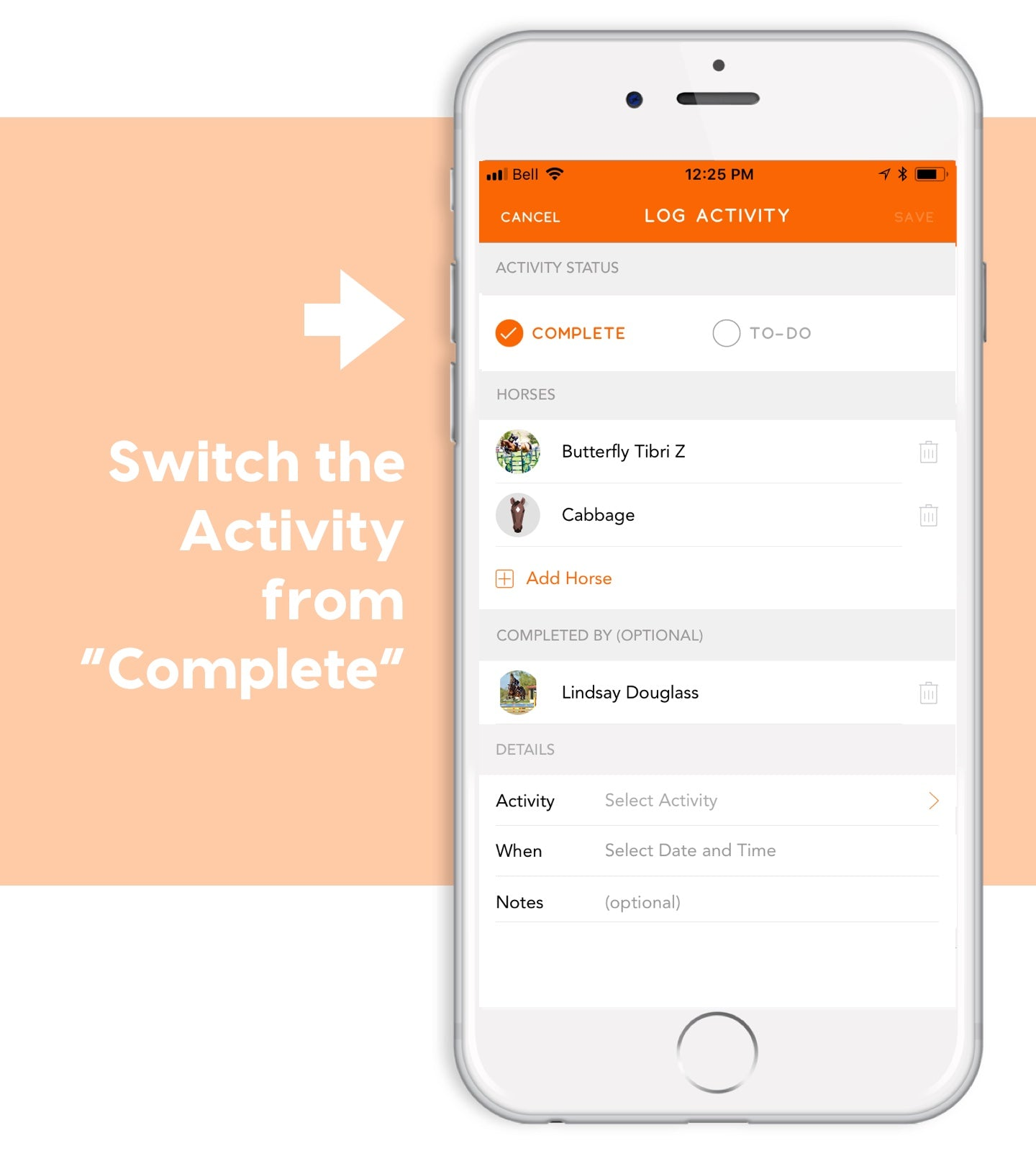 switch activity from complete in ponyapp