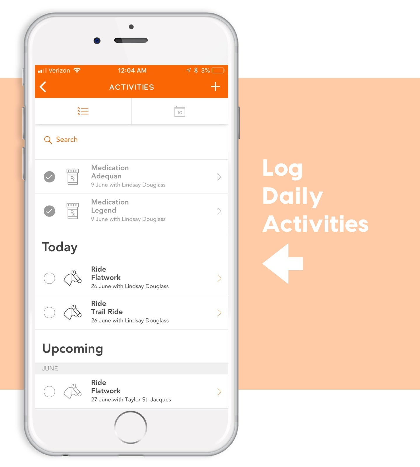 log daily activities on ponyapp