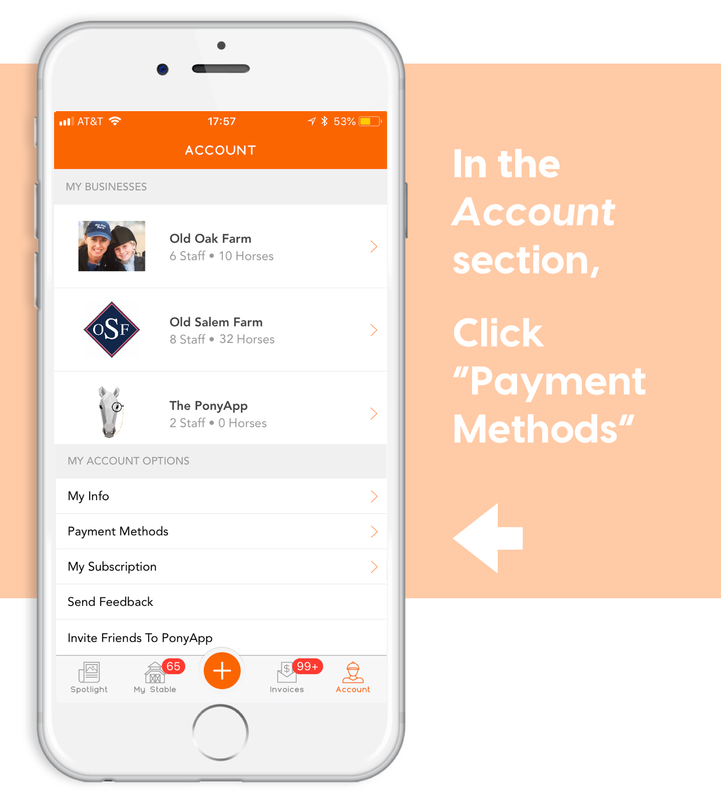 add a bank account for ponyapp payments