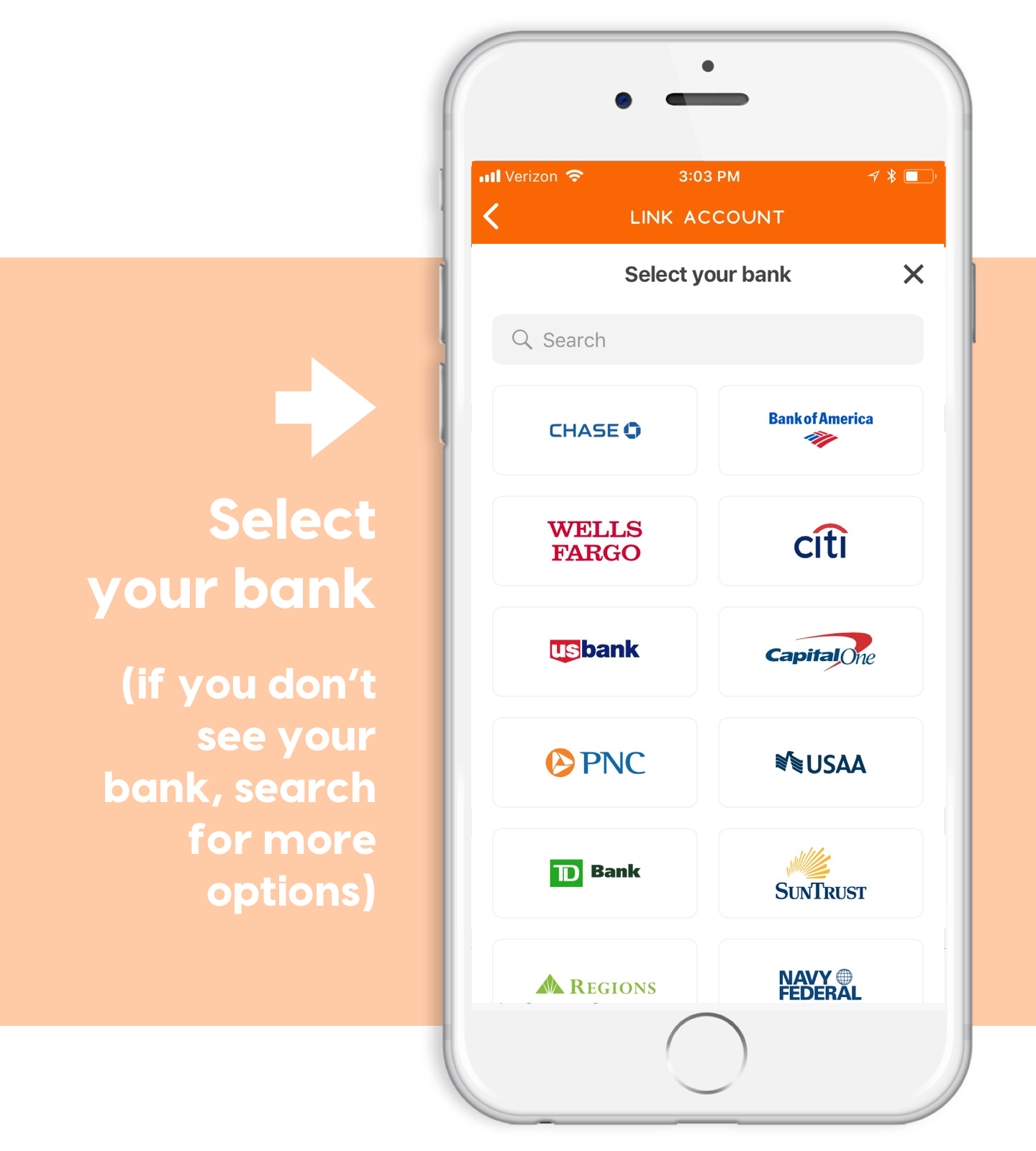 select your bank account for ponyapp payments