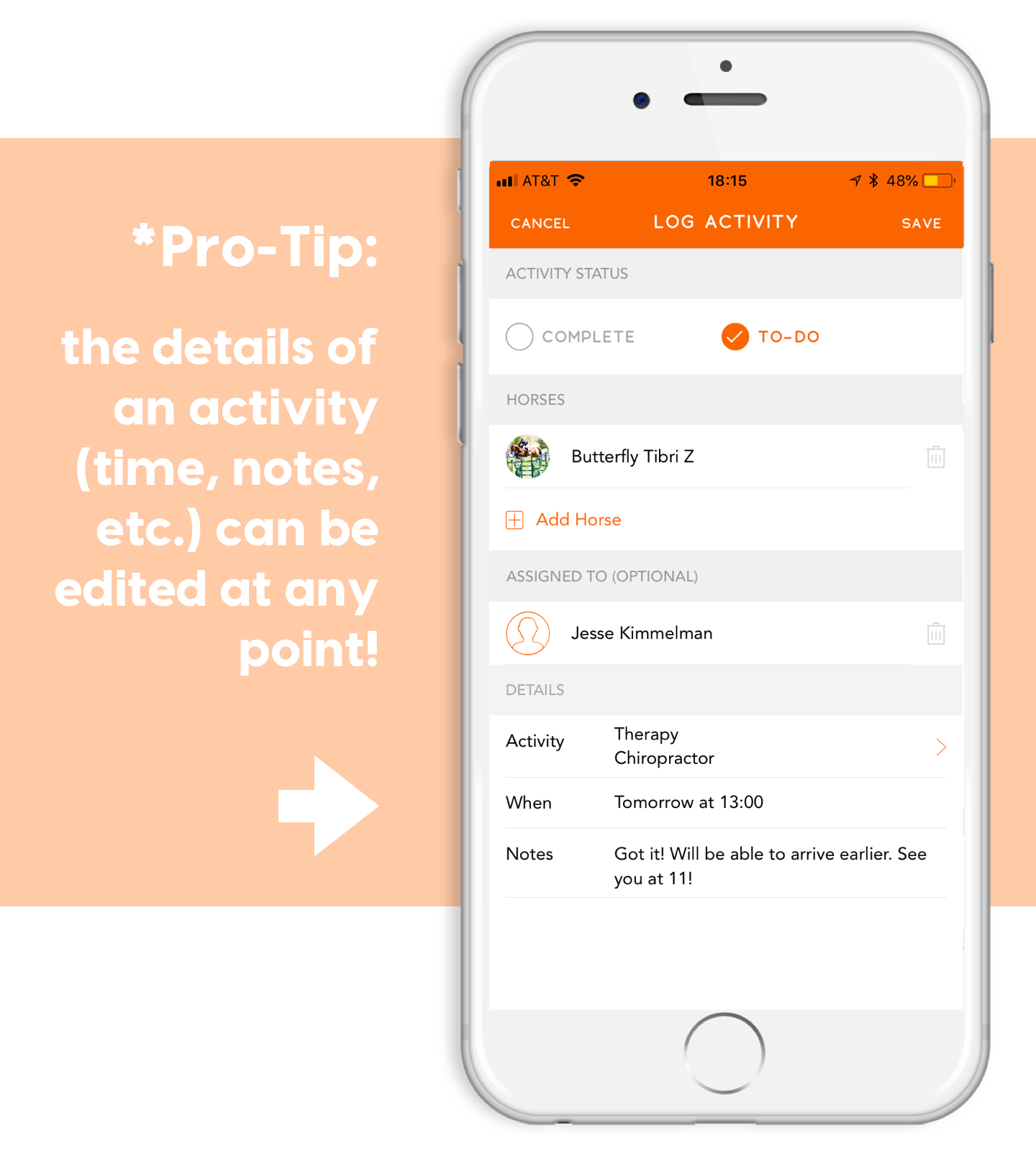 ponyapp pro tip edit future to do activities