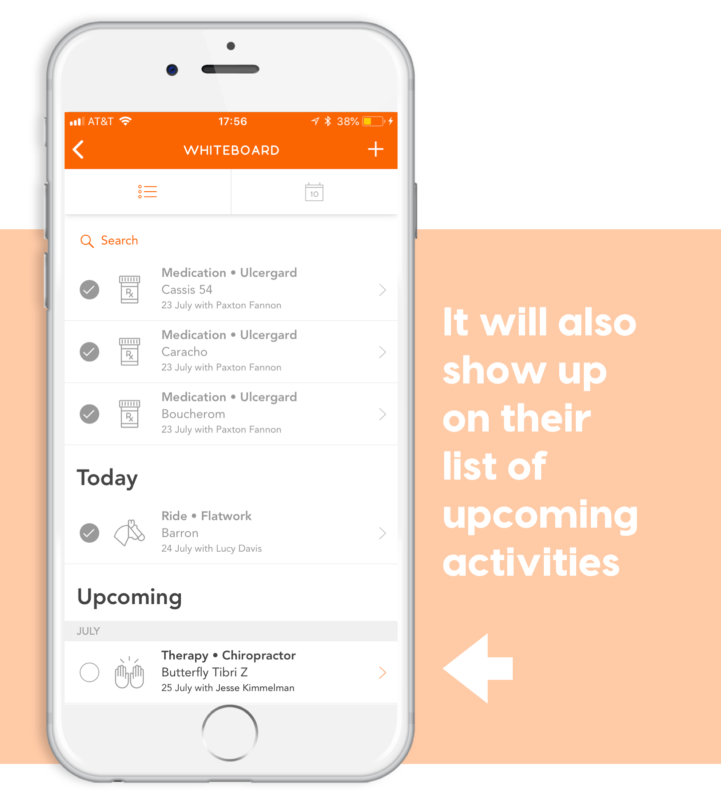 list of upcoming activities on ponyapp